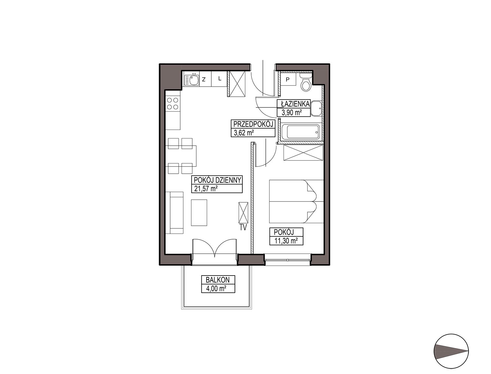 Uroczysko III / budynek 5 / mieszkanie G/1/17 rzut 1