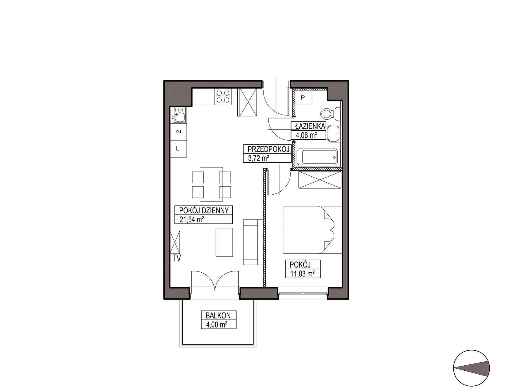 Uroczysko III / budynek 6 / mieszkanie H/0/9 rzut 1