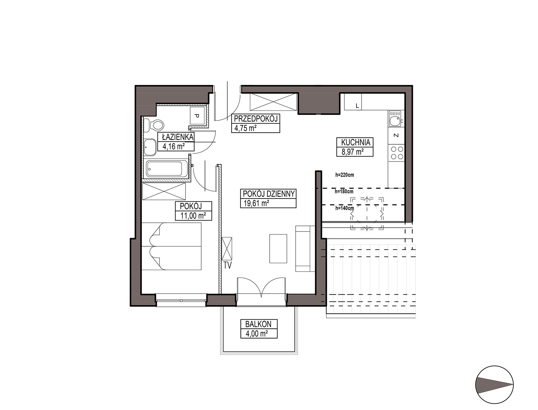 Uroczysko III / budynek 5 / mieszkanie G/3/47 rzut 1