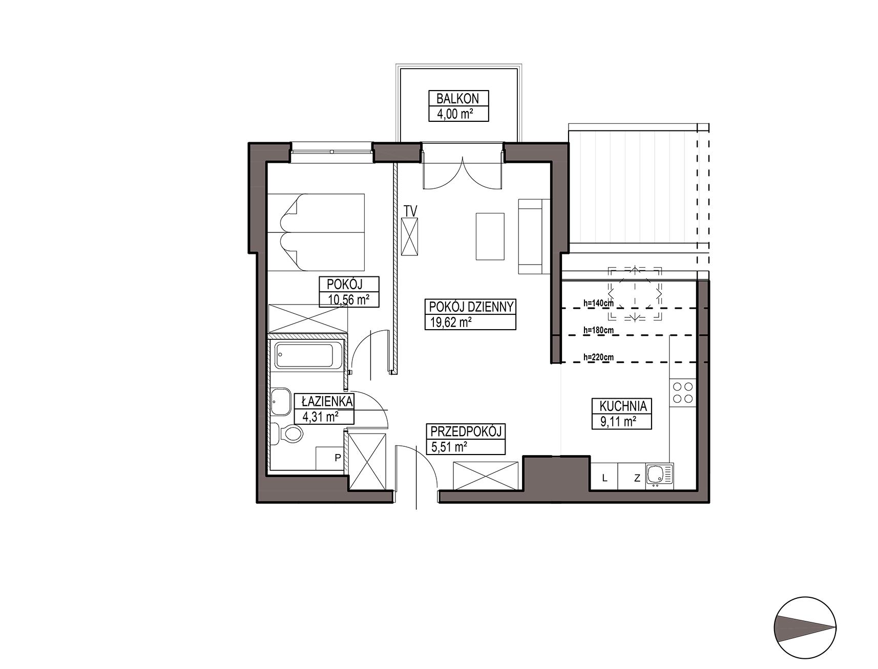 Uroczysko III / budynek 5 / mieszkanie G/3/48 rzut 1