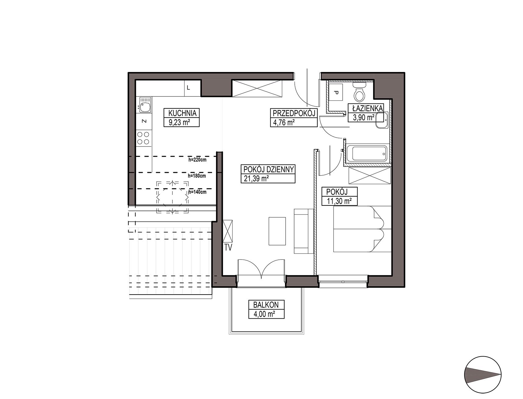 Uroczysko III / budynek 5 / mieszkanie G/3/46 rzut 1