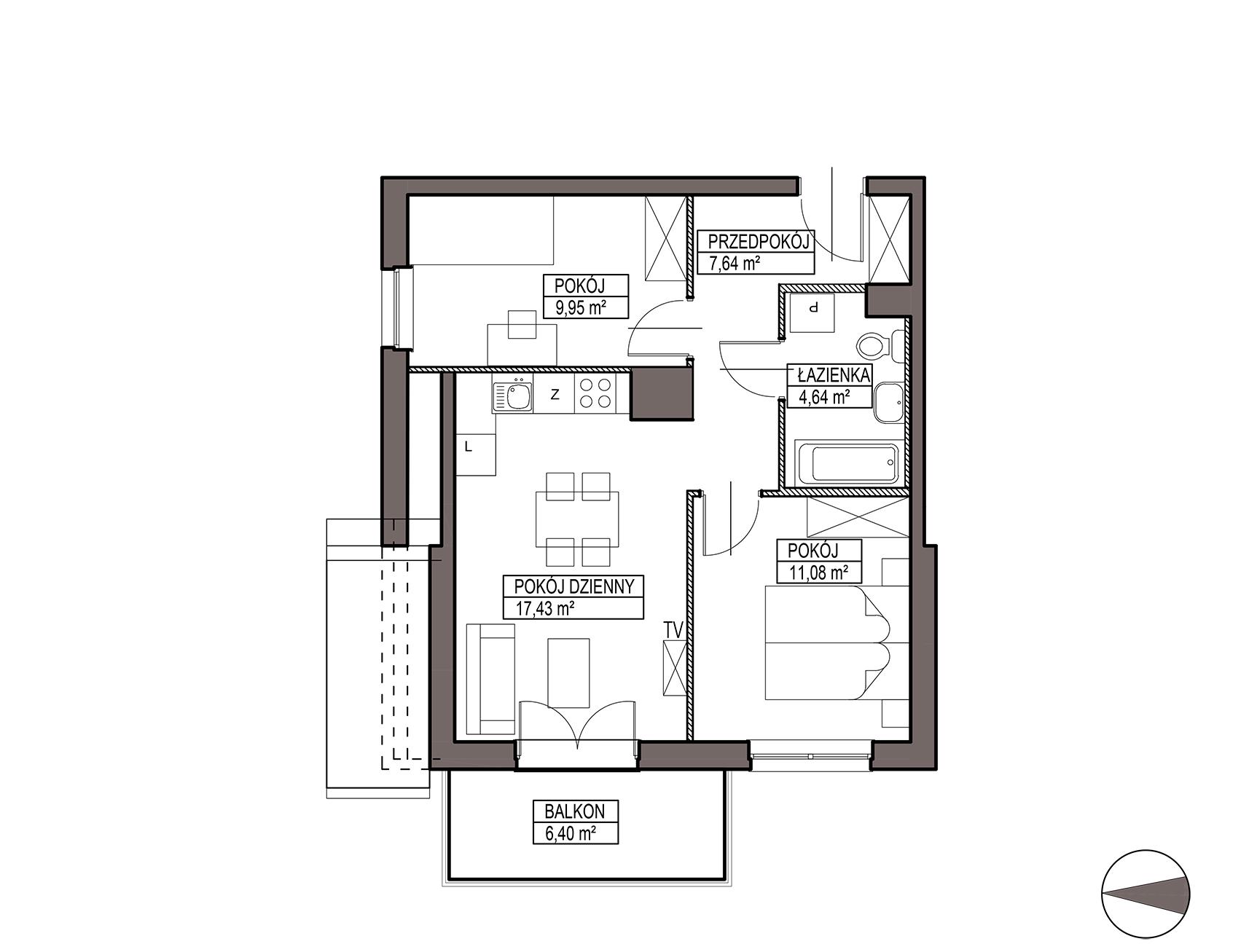 Uroczysko III / budynek 6 / mieszkanie H/3/29 rzut 1