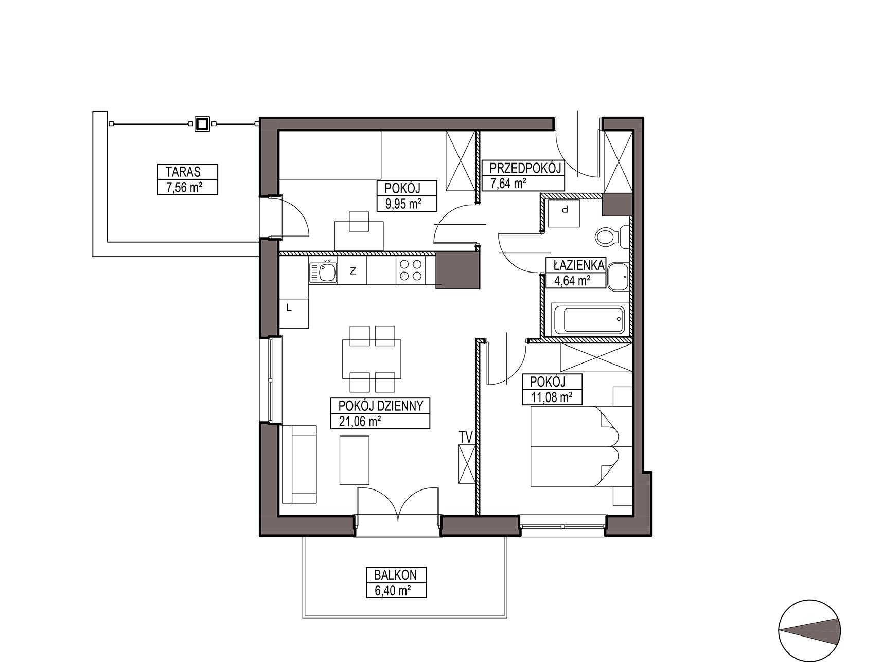 Uroczysko III / budynek 6 / mieszkanie H/0/2 rzut 1