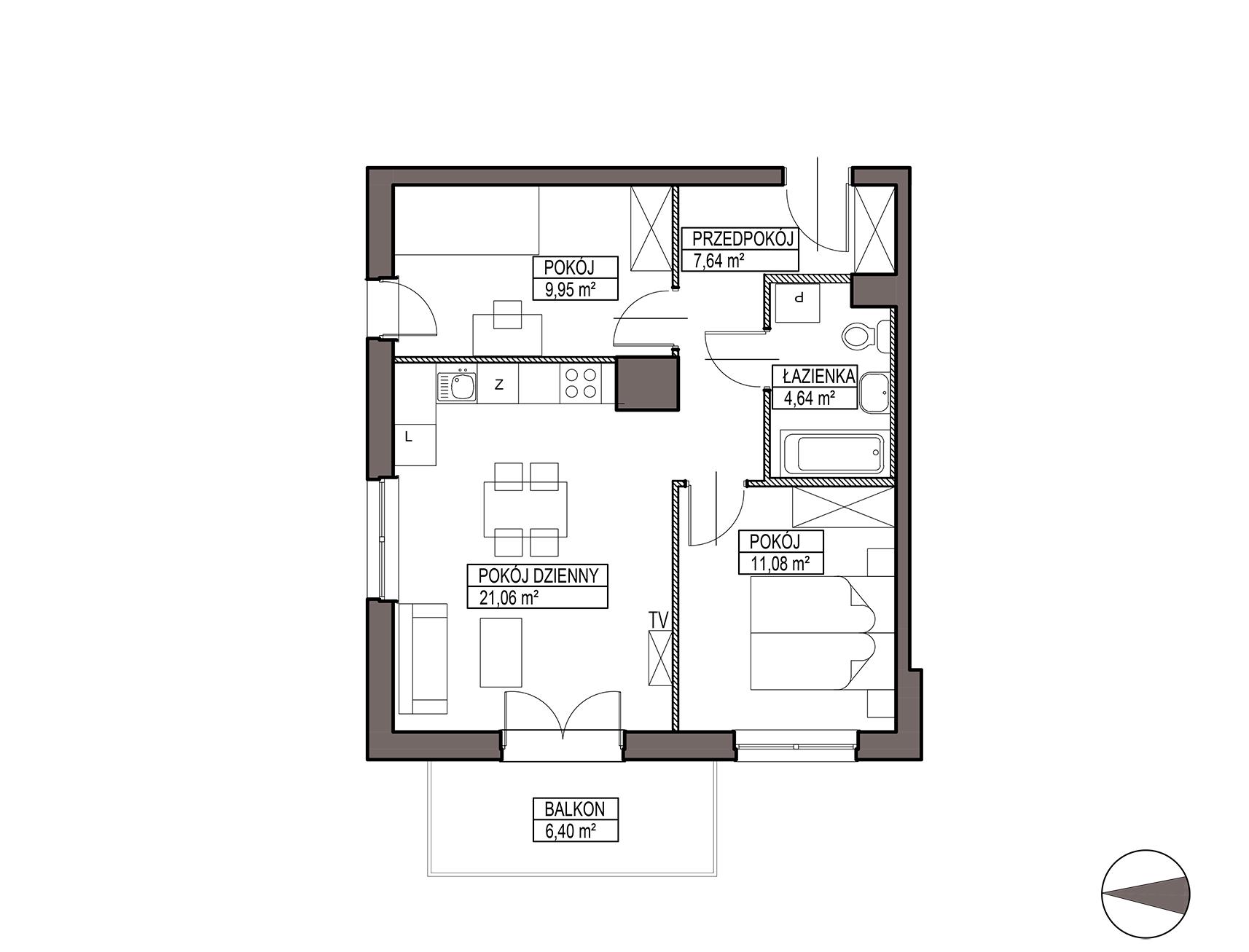 Uroczysko III / budynek 6 / mieszkanie H/1/11 rzut 1