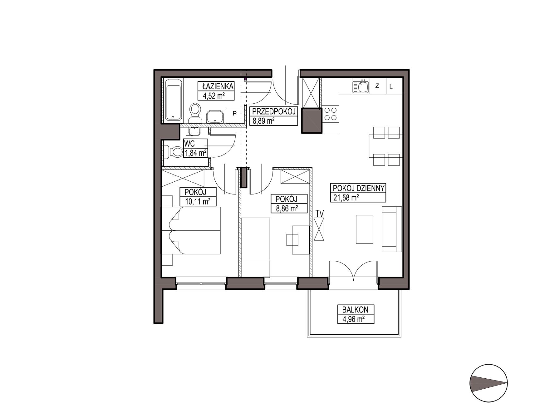 Uroczysko III / budynek 5 / mieszkanie G/1/30 rzut 1