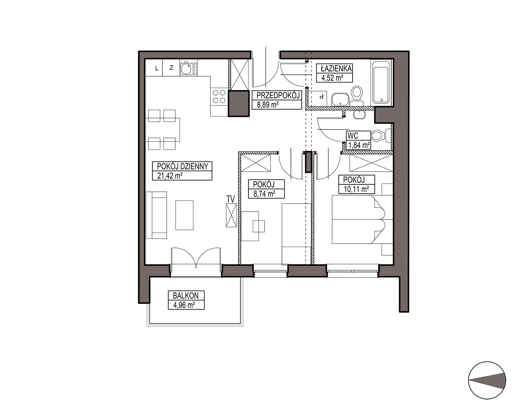 Uroczysko III / budynek 6 / mieszkanie H/2/19 rzut 1