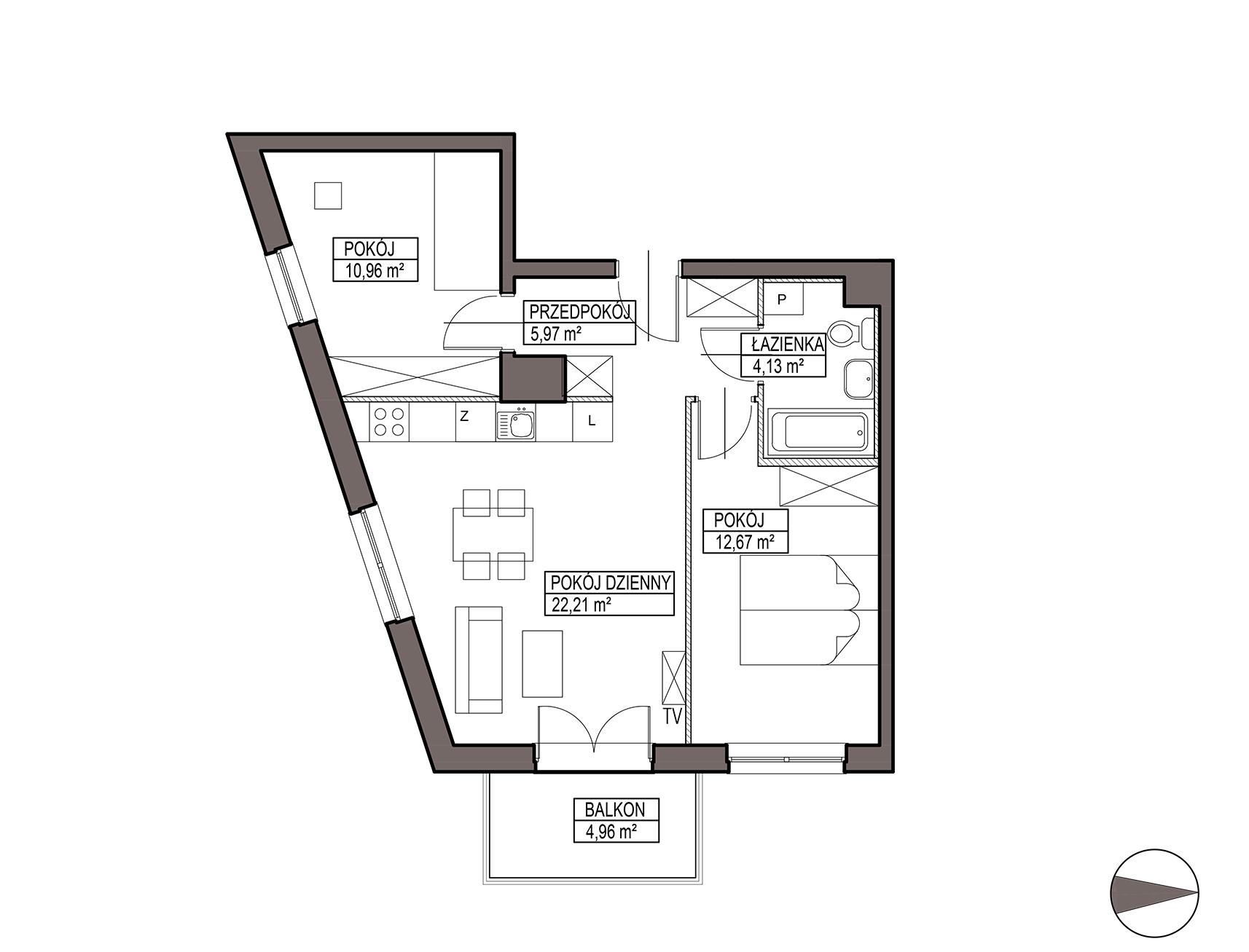 Uroczysko III / budynek 5 / mieszkanie G/1/19 rzut 1