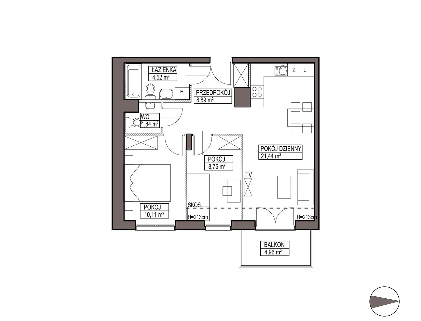 Uroczysko III / budynek 5 / mieszkanie G/2/45 rzut 1
