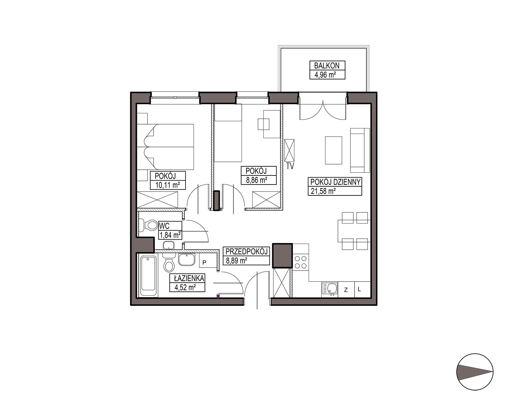 Uroczysko III / budynek 5 / mieszkanie G/0/10 rzut 1
