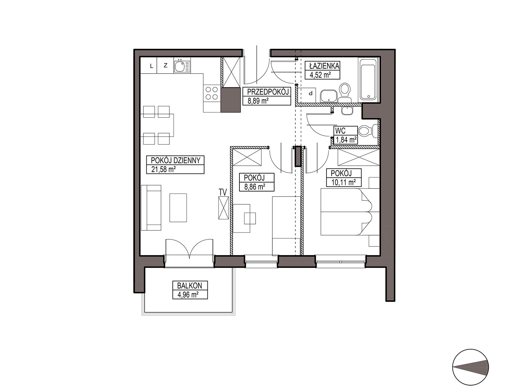 Uroczysko III / budynek 6 / mieszkanie H/0/1 rzut 1