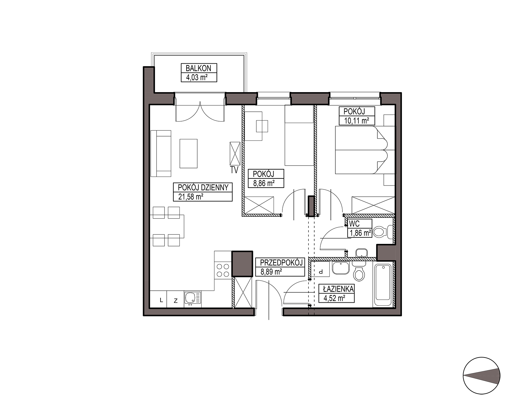 Uroczysko III / budynek 6 / mieszkanie H/0/4 rzut 1