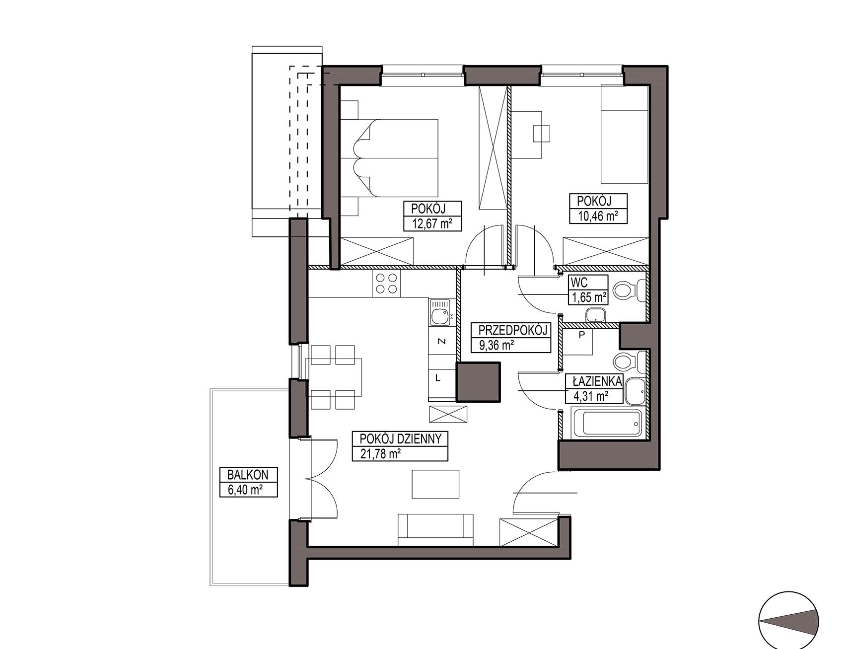 Uroczysko III / budynek 6 / mieszkanie H/3/30 rzut 1