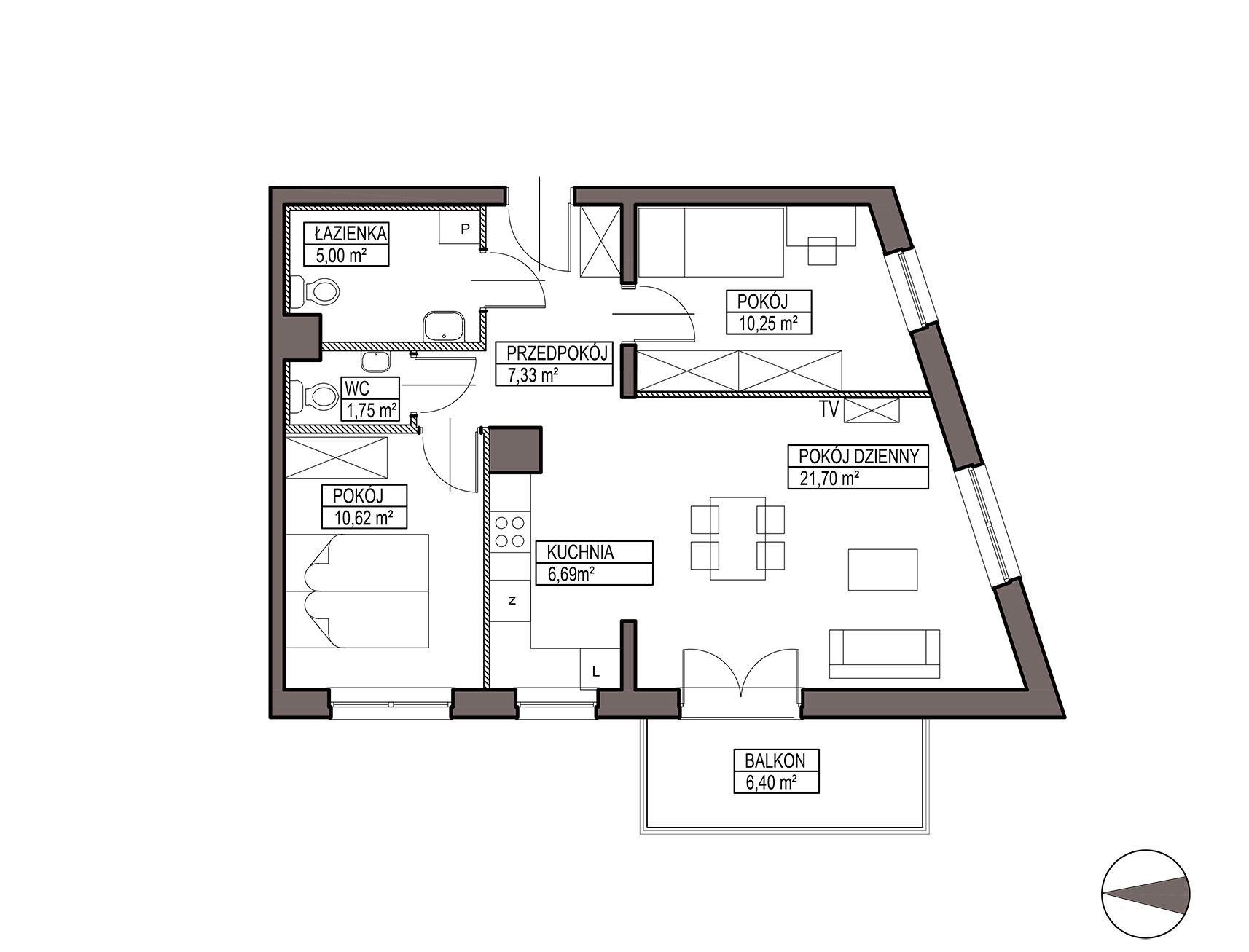 Uroczysko III / budynek 6 / mieszkanie H/0/8 rzut 1