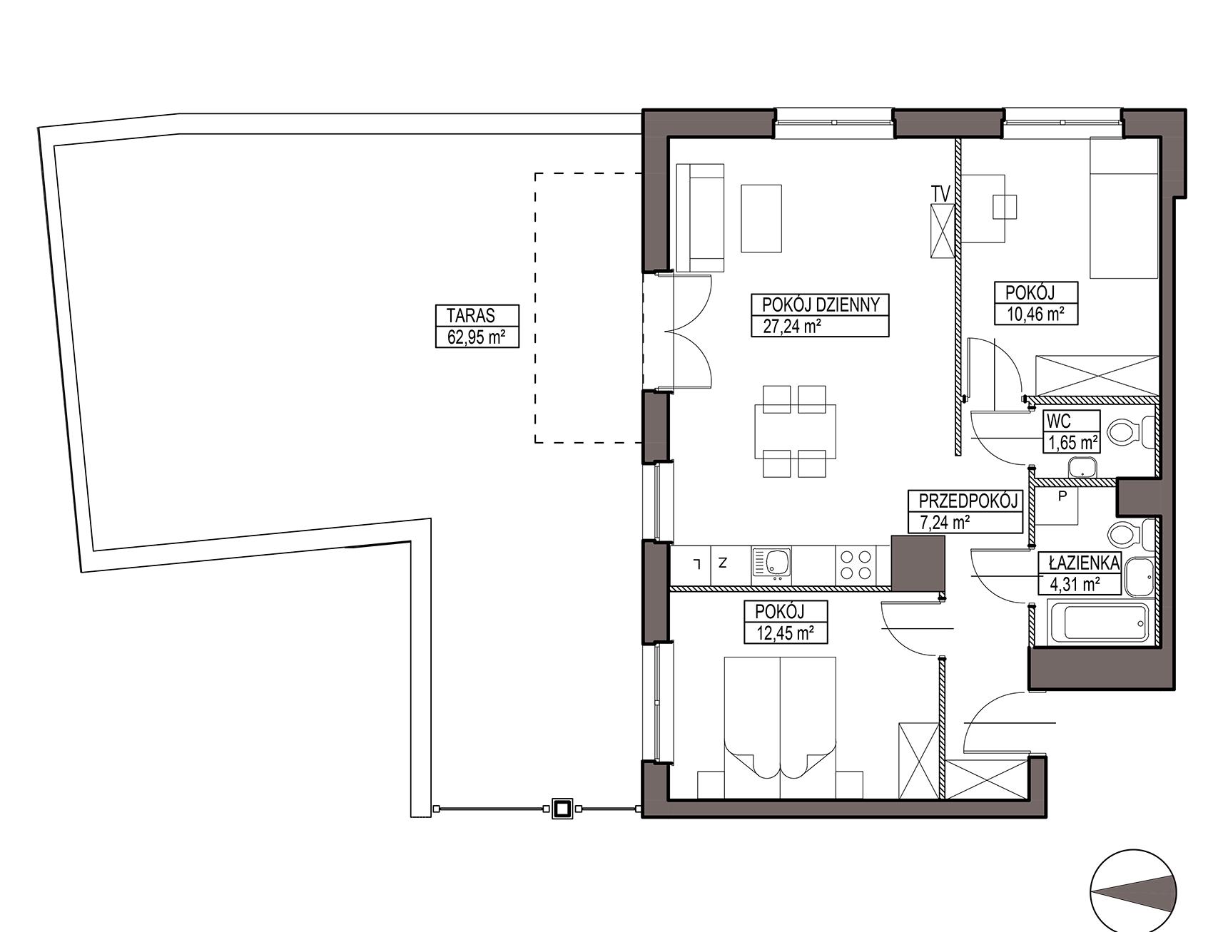 Uroczysko III / budynek 6 / mieszkanie H/0/3 rzut 1