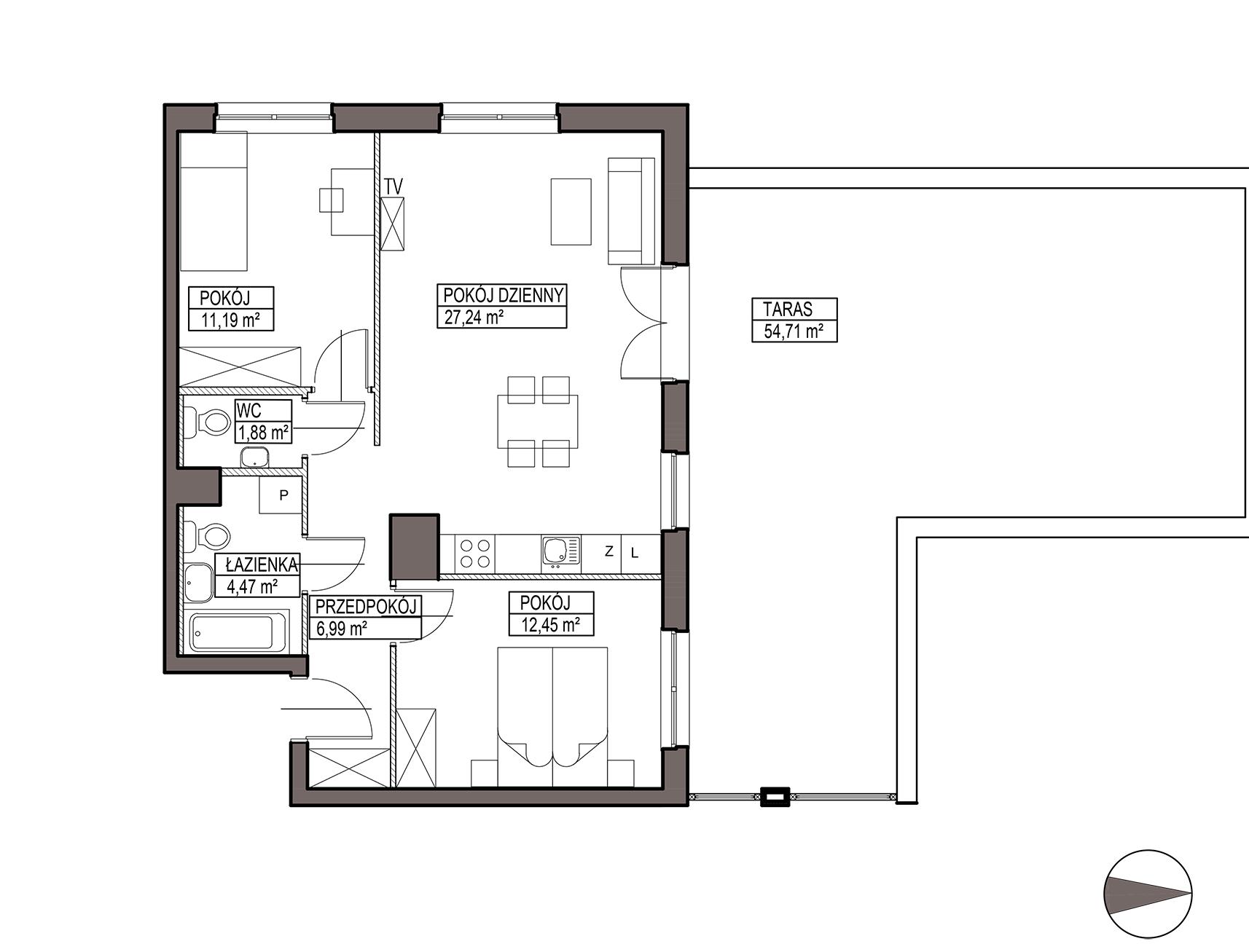 Uroczysko III / budynek 5 / mieszkanie G/0/12 rzut 1