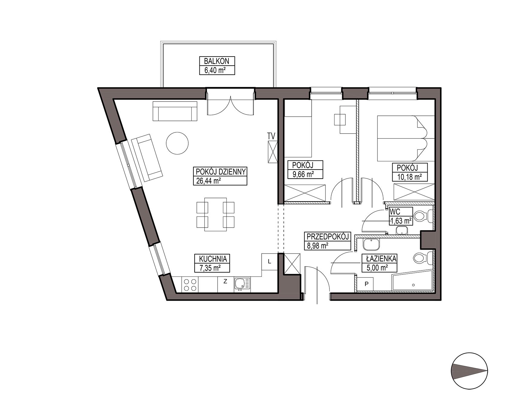 Uroczysko III / budynek 5 / mieszkanie G/1/20 rzut 1