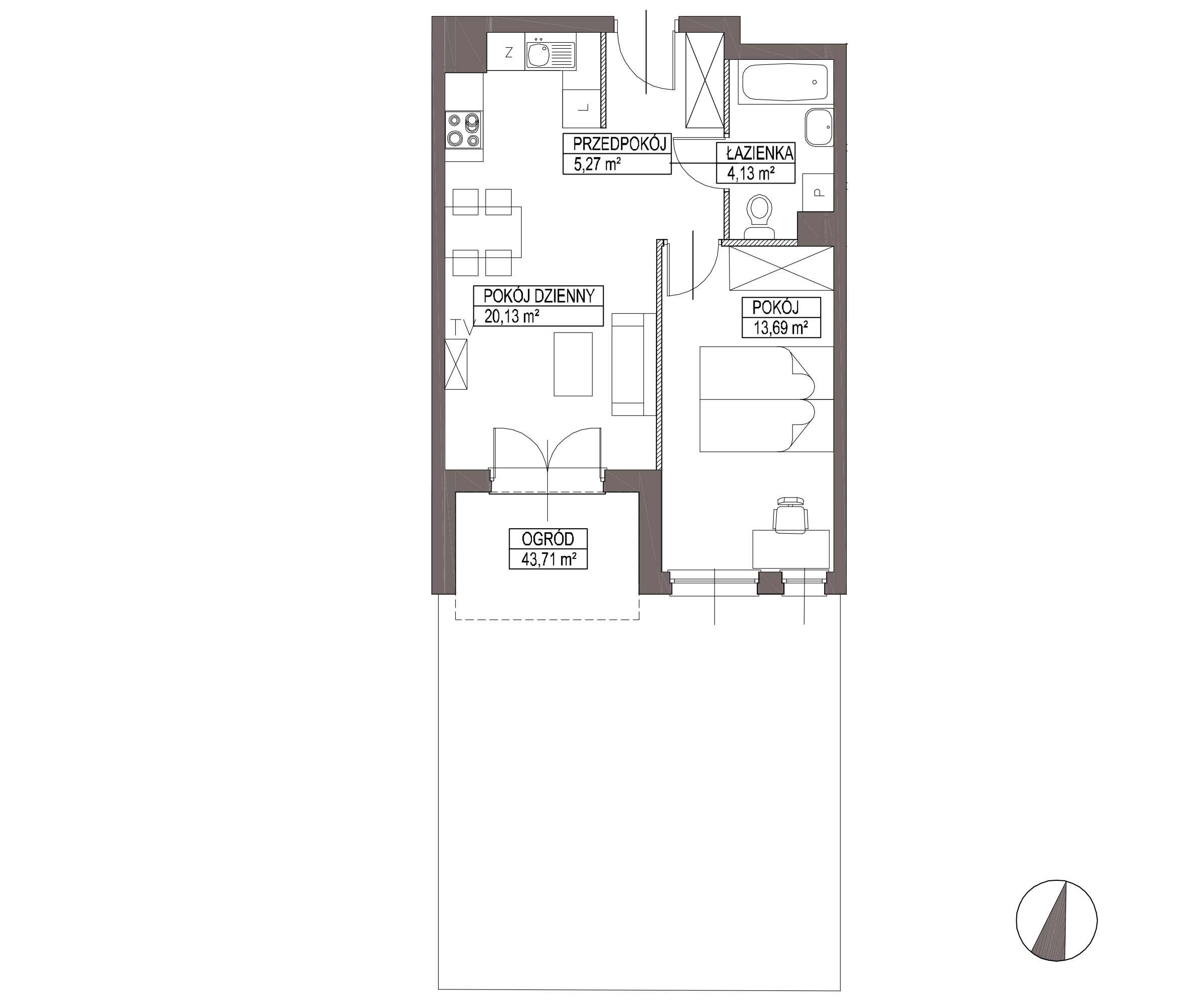 Kameralna Olszówka / budynek 1 / mieszkanie KO/A/0/3 rzut 1