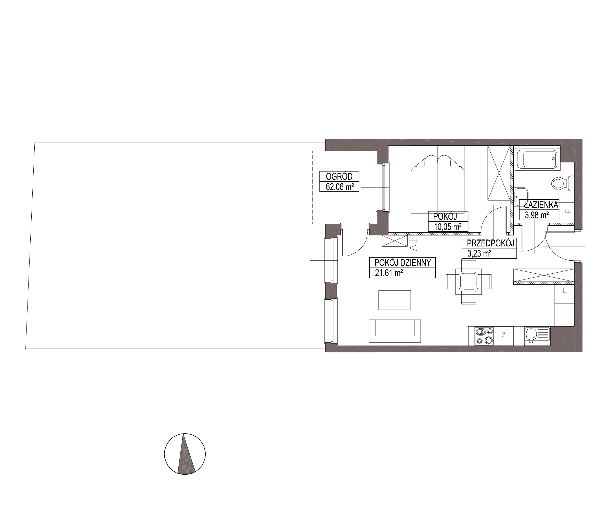 Kameralna Olszówka / budynek 1 / mieszkanie KO/B/0/2 rzut 1