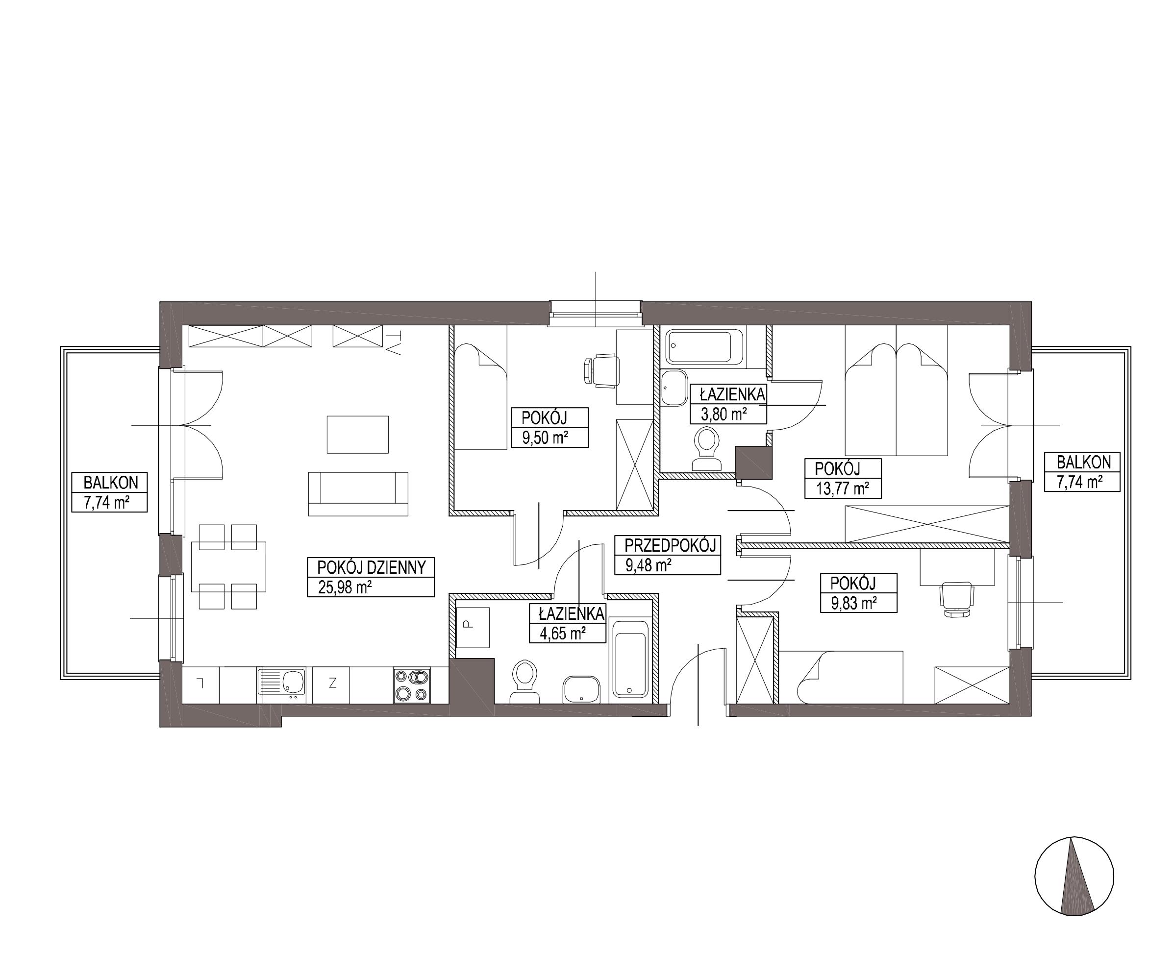 Kameralna Olszówka / budynek 1 / mieszkanie KO/B/3/4 rzut 1