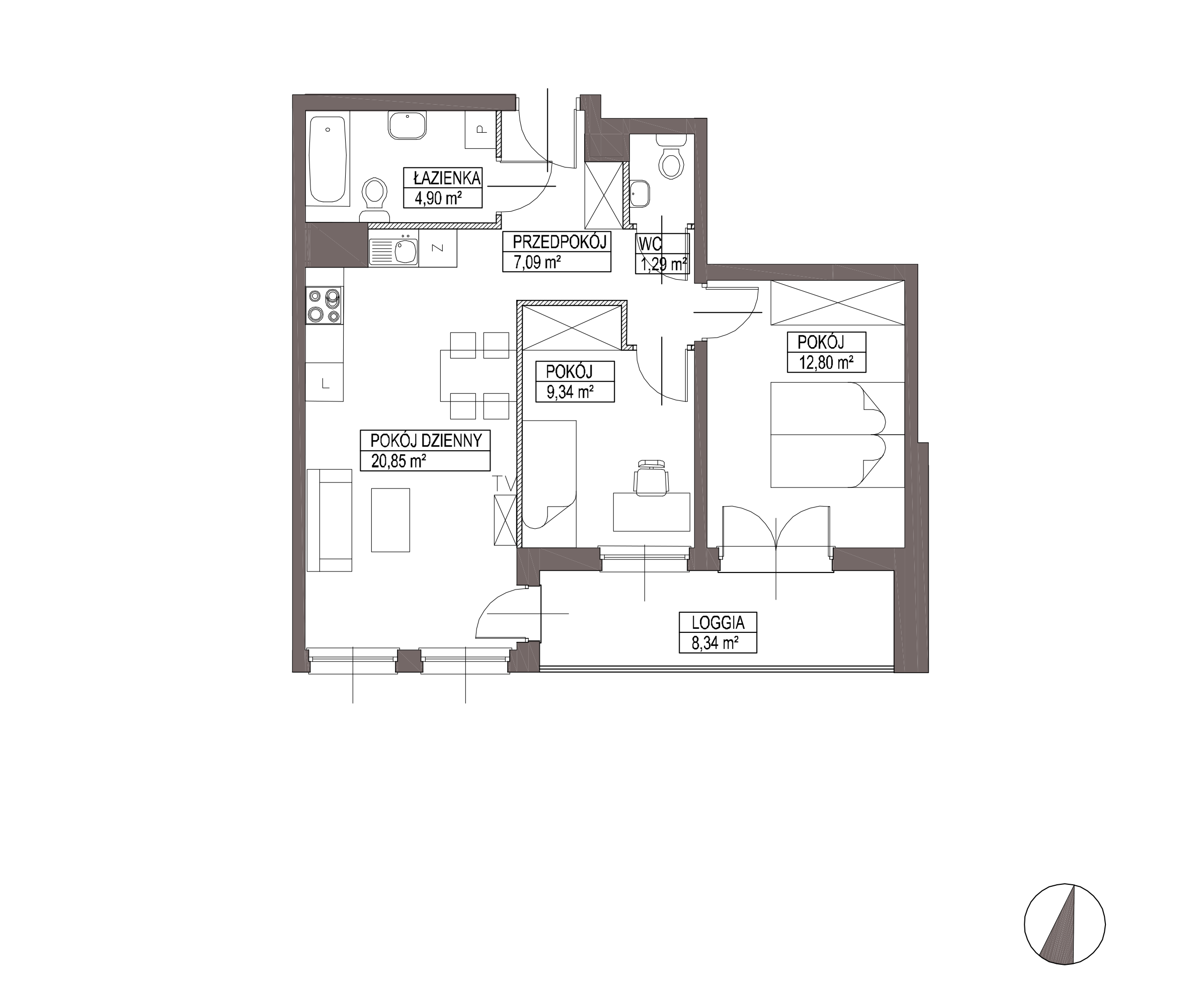 Kameralna Olszówka / budynek 1 / mieszkanie KO/A/2/2 rzut 1