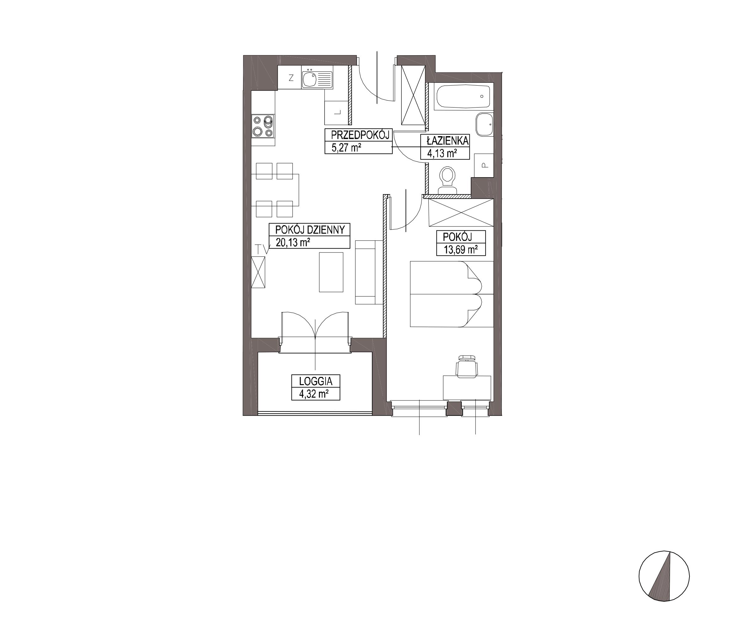 Kameralna Olszówka / budynek 1 / mieszkanie KO/A/2/3 rzut 1