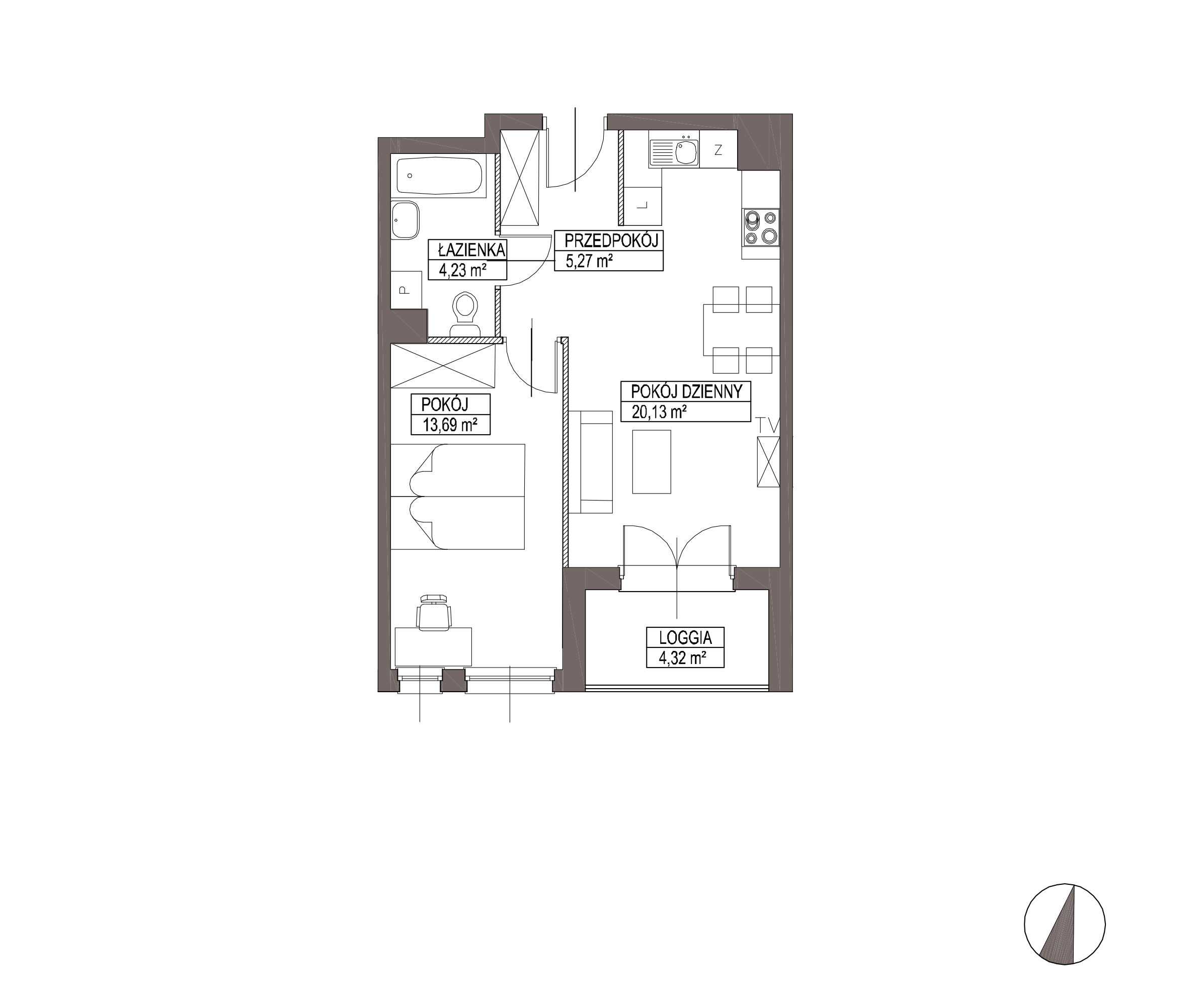 Kameralna Olszówka / budynek 1 / mieszkanie KO/A/2/4 rzut 1