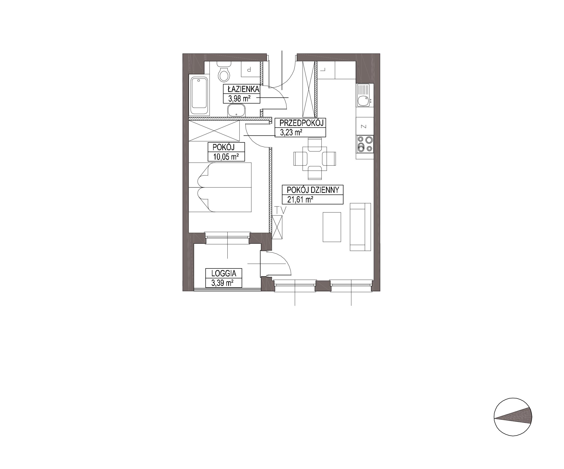 Kameralna Olszówka / budynek 1 / mieszkanie KO/B/2/2 rzut 1