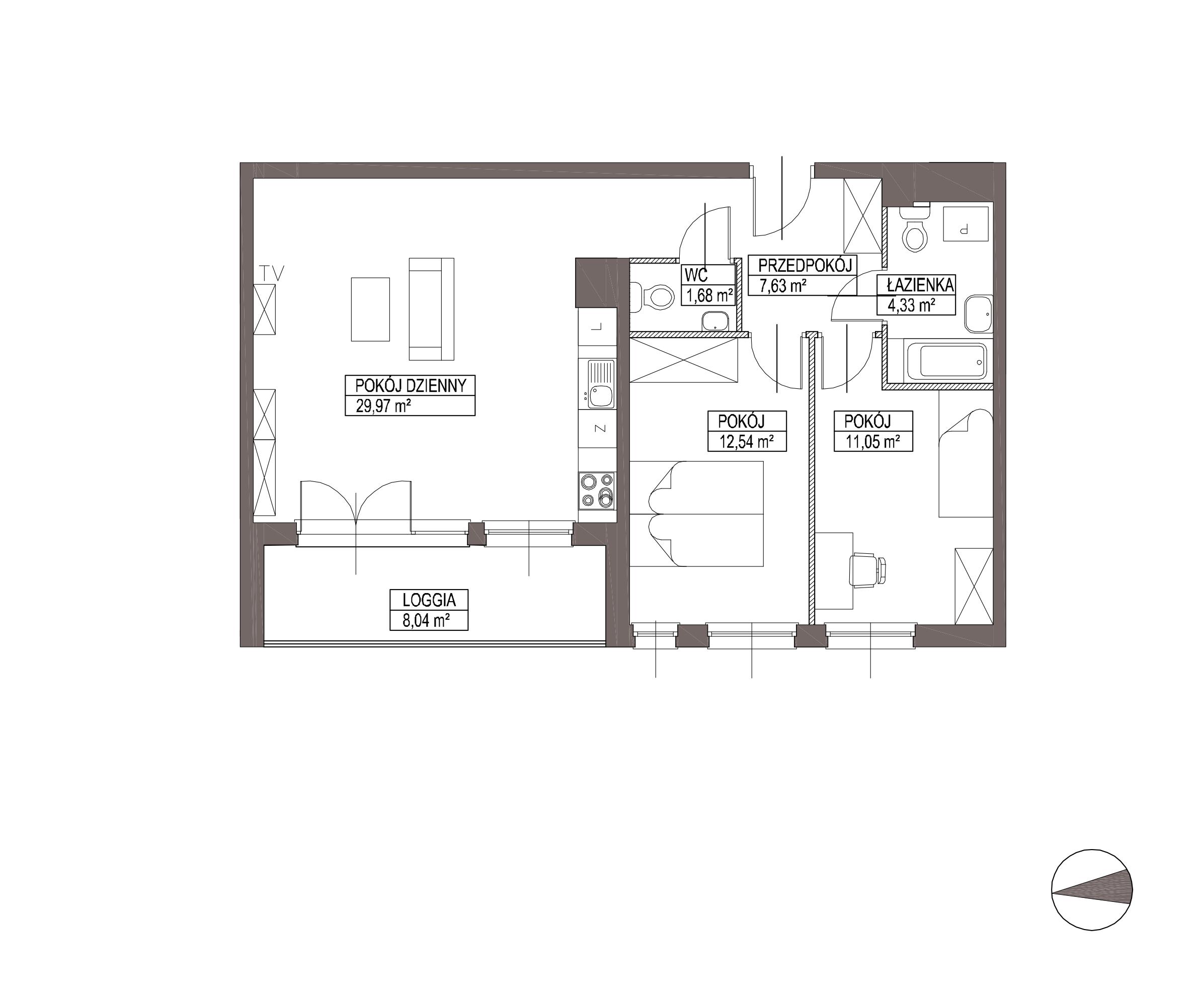 Kameralna Olszówka / budynek 1 / mieszkanie KO/B/2/3 rzut 1