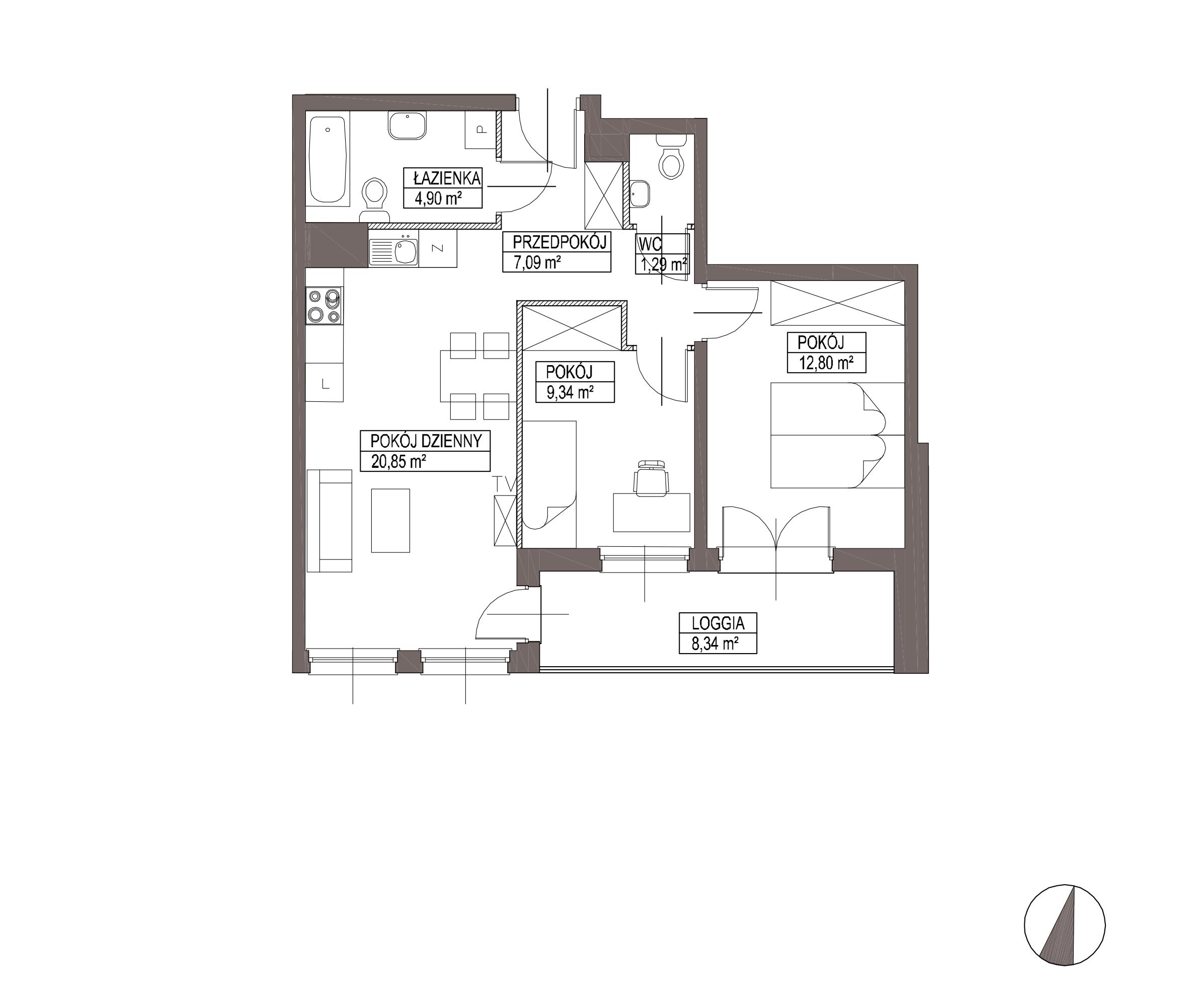 Kameralna Olszówka / budynek 1 / mieszkanie KO/A/3/2 rzut 1