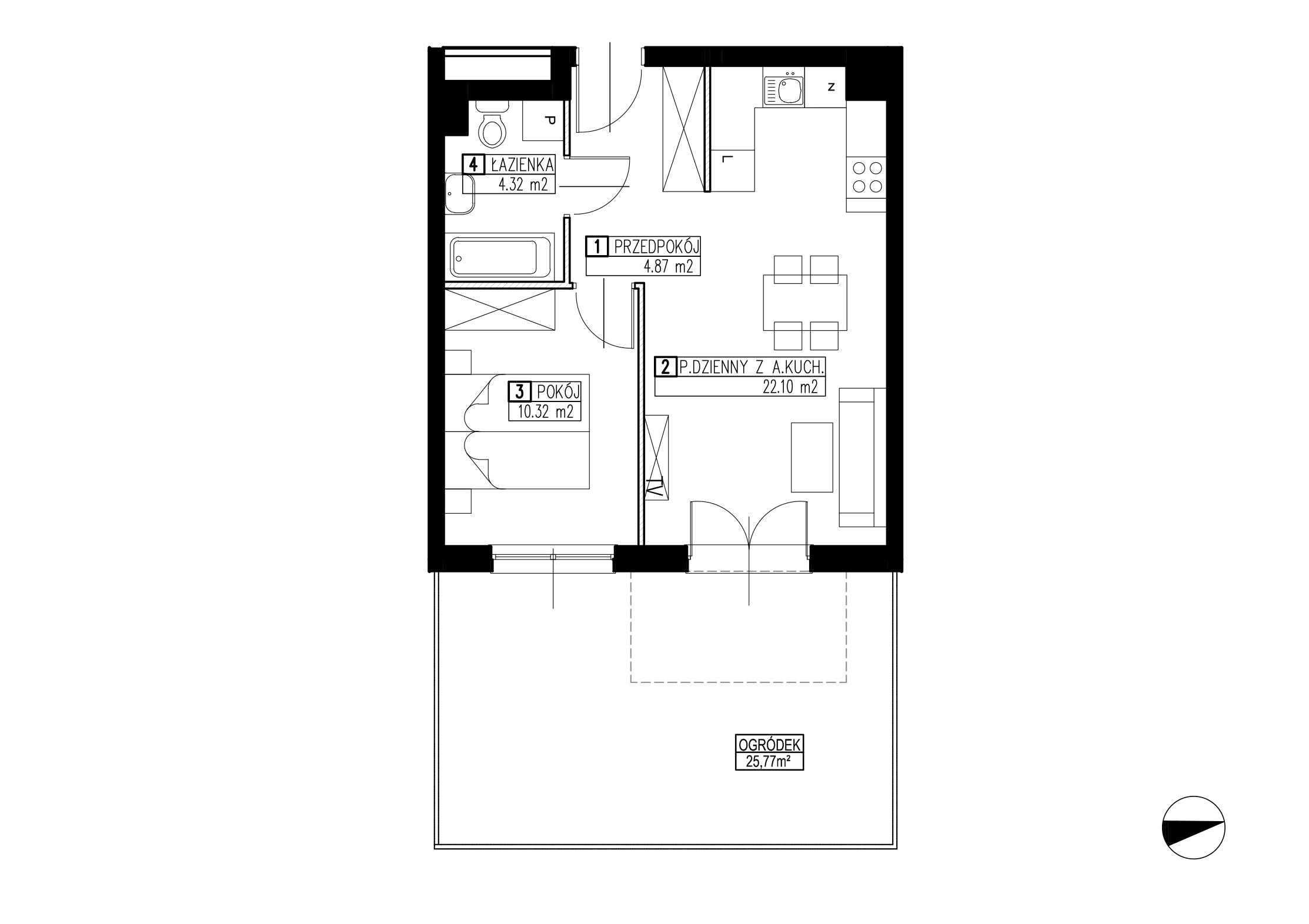 Wojszyckie Alejki / budynek 2 / mieszkanie WA2/B/0/2 rzut 1
