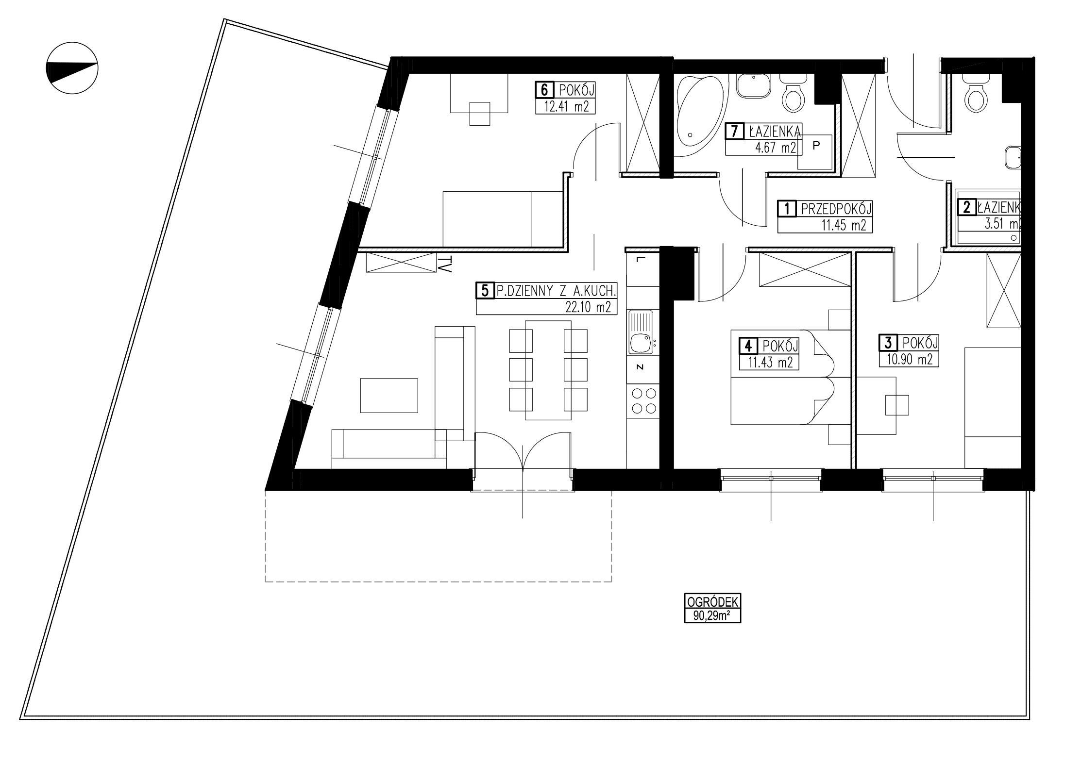 Wojszyckie Alejki / budynek 2 / mieszkanie WA2/B/0/3 rzut 1