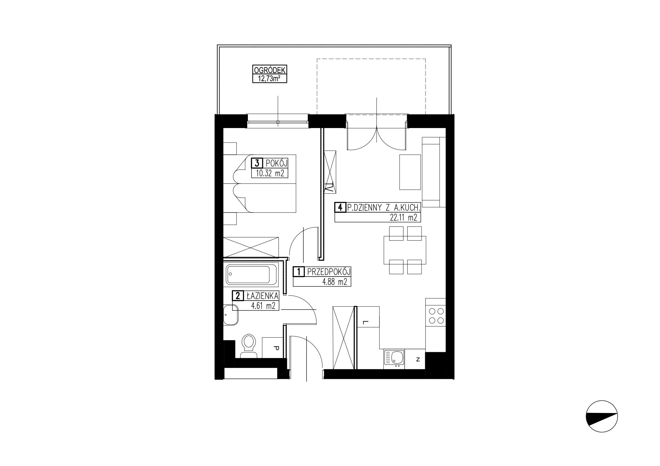 Wojszyckie Alejki / budynek 2 / mieszkanie WA2/B/0/5 rzut 1