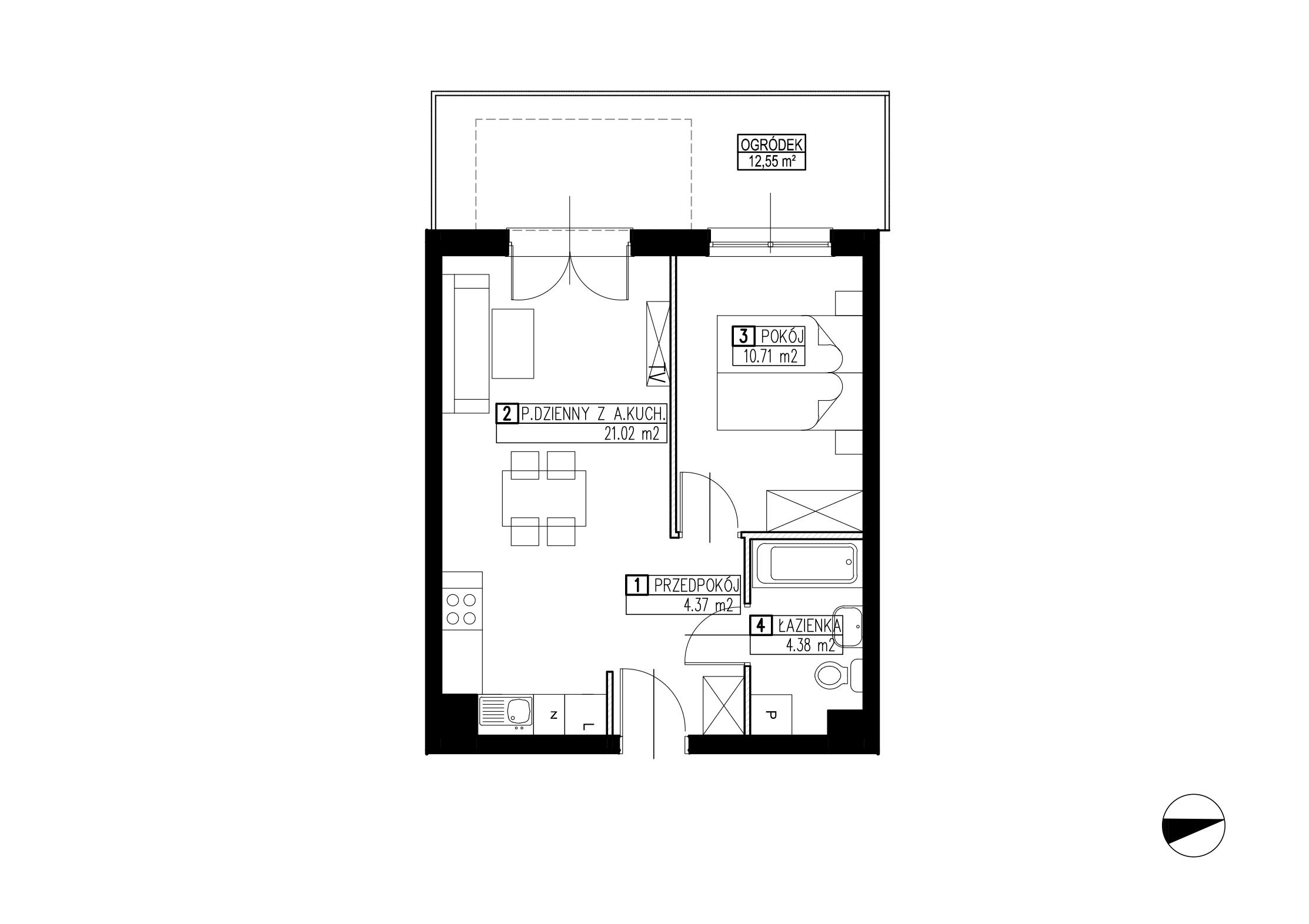 Wojszyckie Alejki / budynek 2 / mieszkanie WA2/B/0/6 rzut 1
