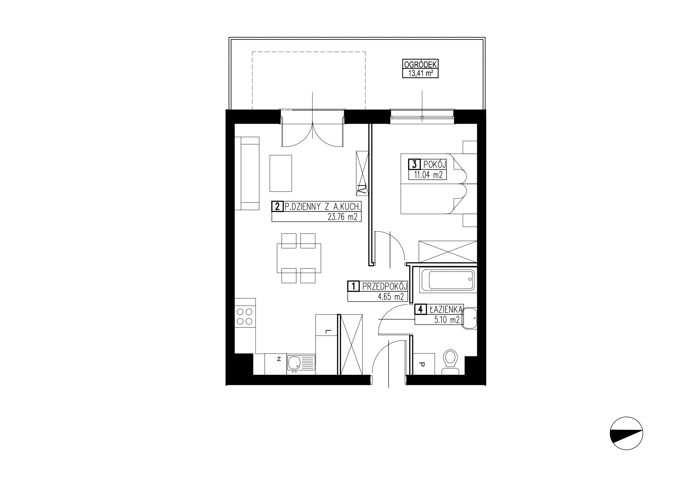 Wojszyckie Alejki / budynek 2 / mieszkanie WA2/B/0/7 rzut 1