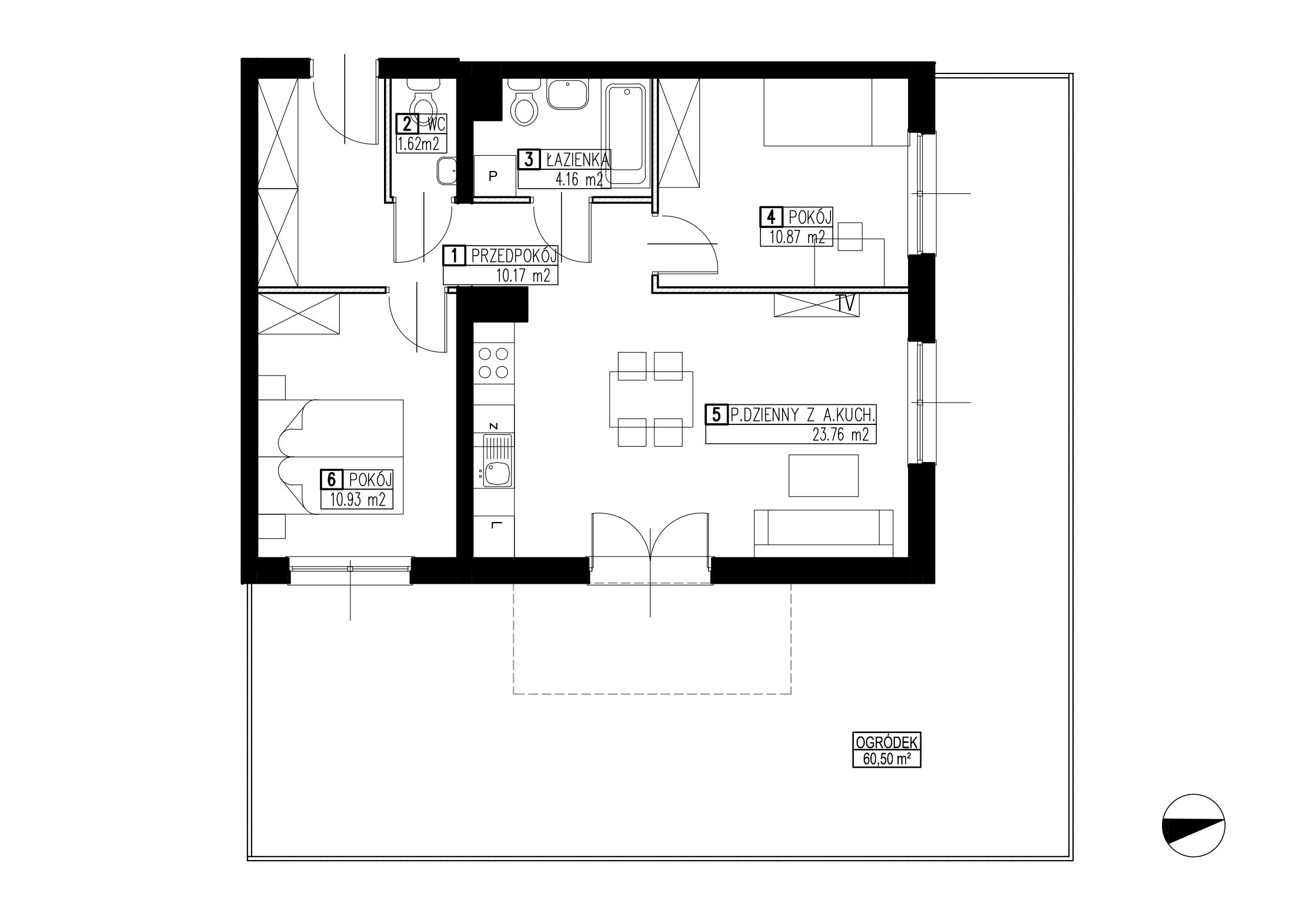 Wojszyckie Alejki / budynek 2 / mieszkanie WA2/B/0/11 rzut 1