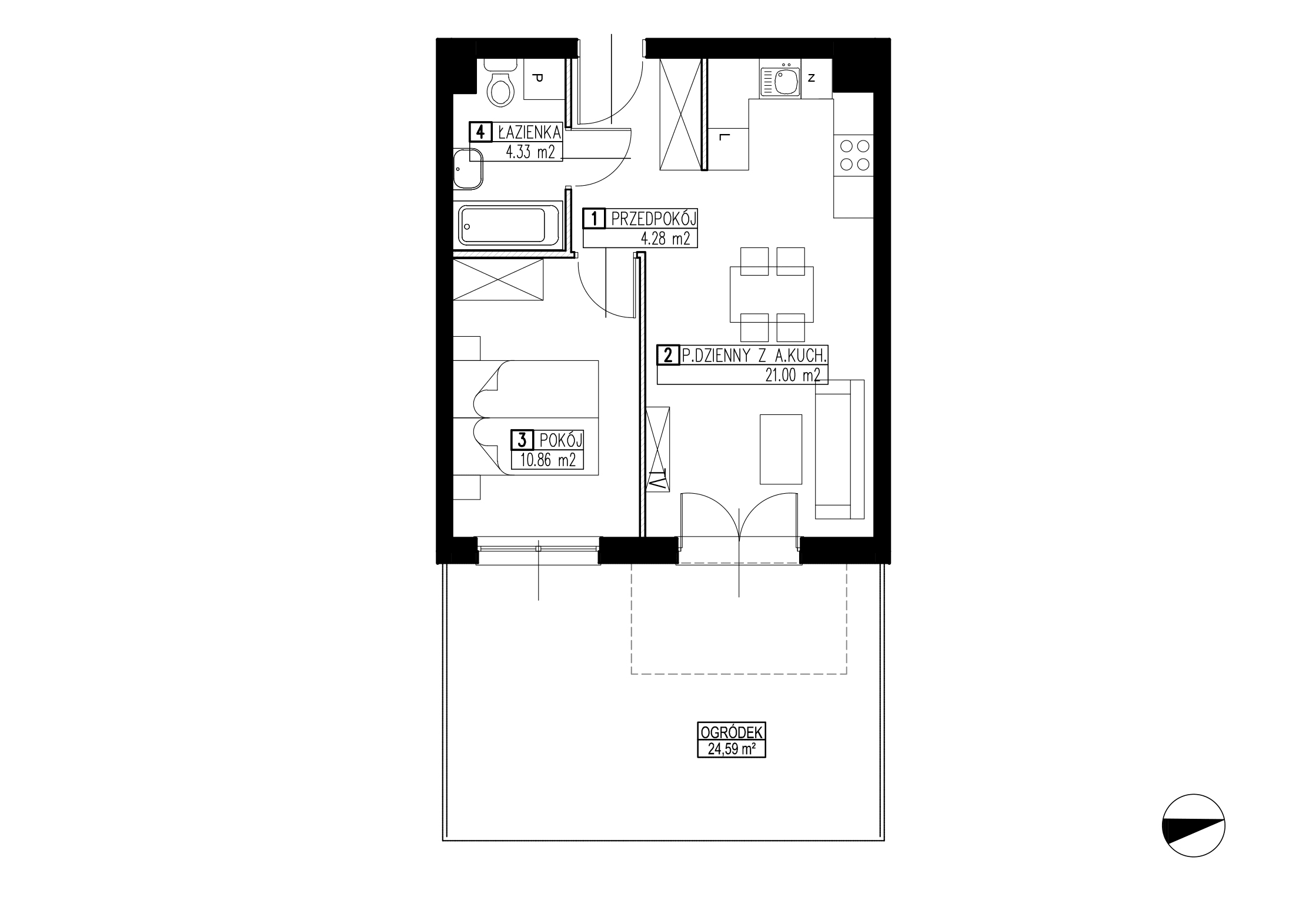Wojszyckie Alejki / budynek 2 / mieszkanie WA2/B/0/12 rzut 1