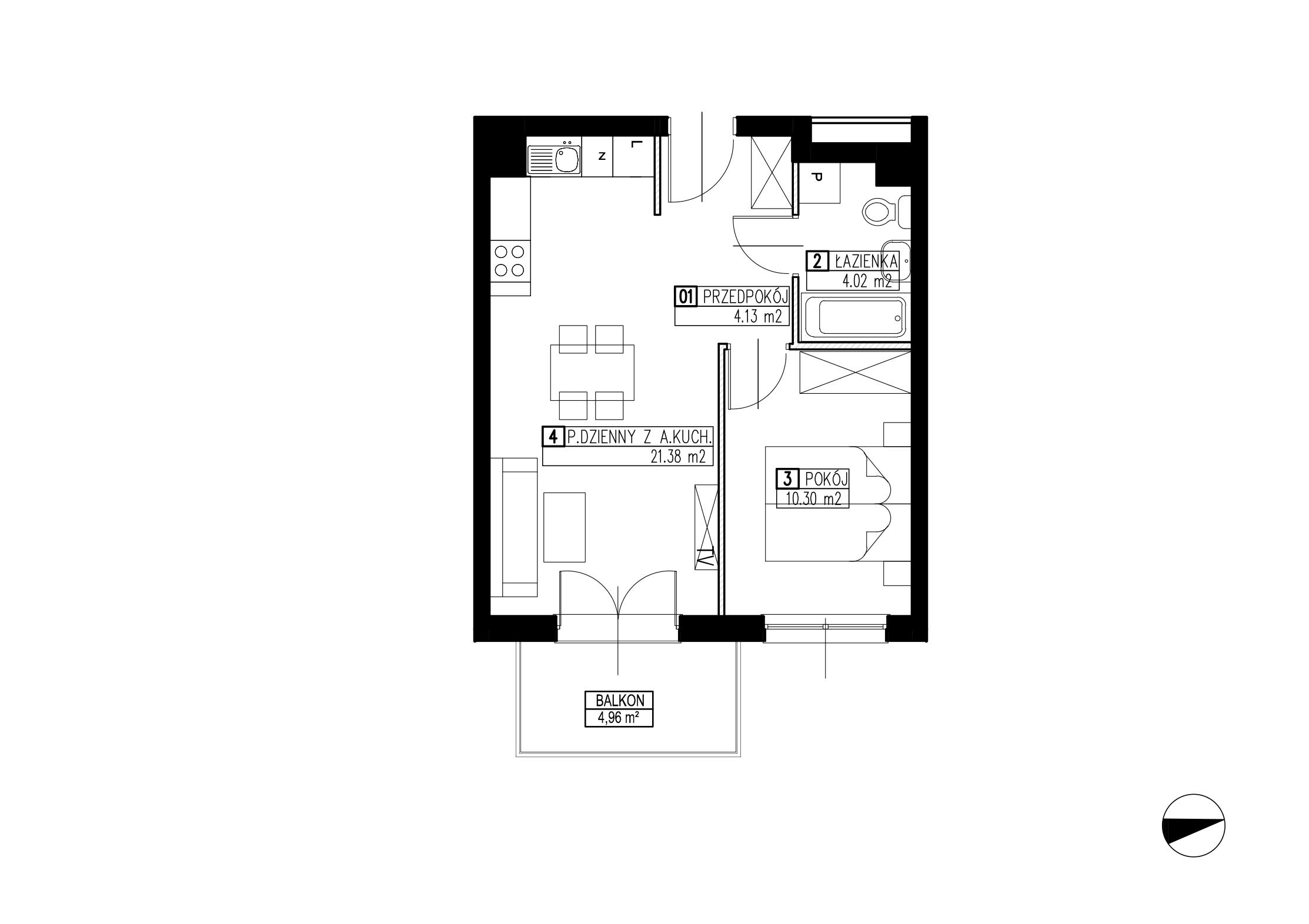 Wojszyckie Alejki / budynek 2 / mieszkanie WA2/B/1/1 rzut 1