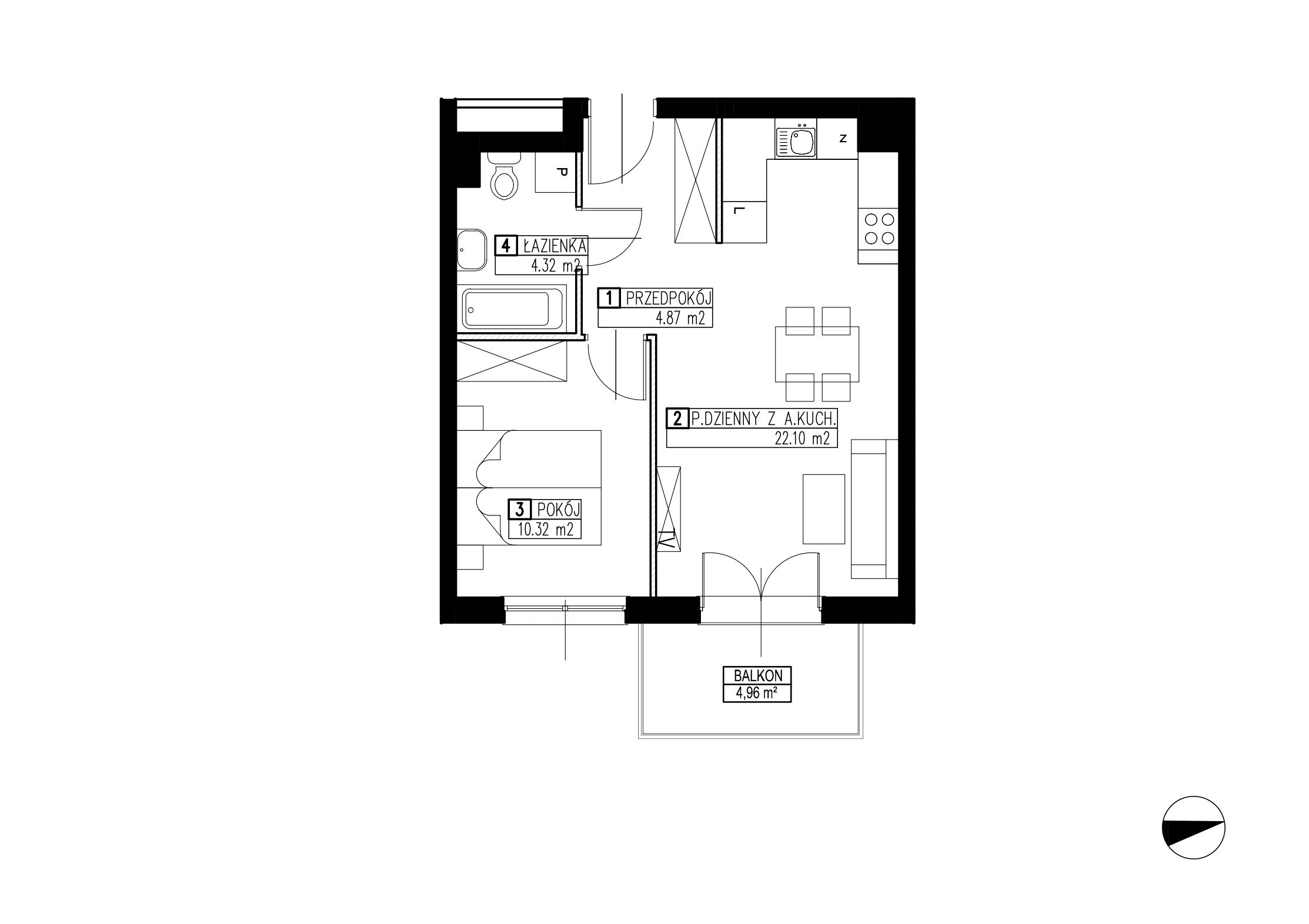 Wojszyckie Alejki / budynek 2 / mieszkanie WA2/B/1/2 rzut 1