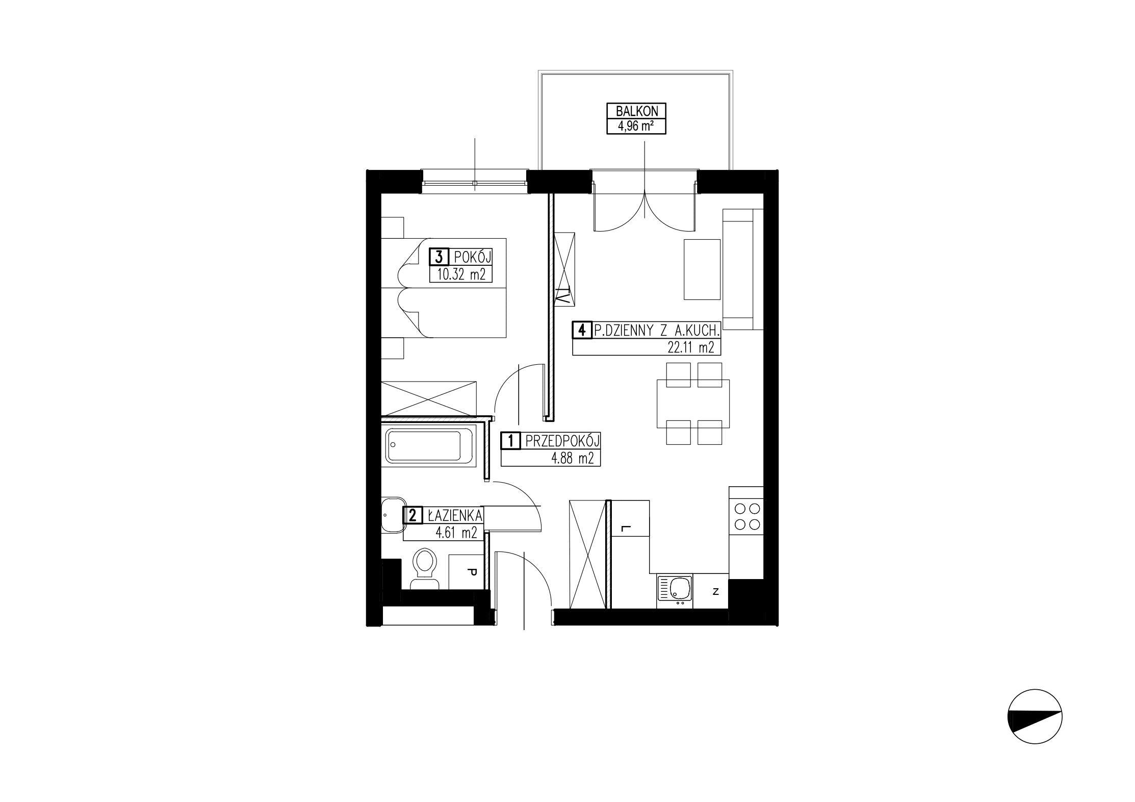 Wojszyckie Alejki / budynek 2 / mieszkanie WA2/B/1/5 rzut 1