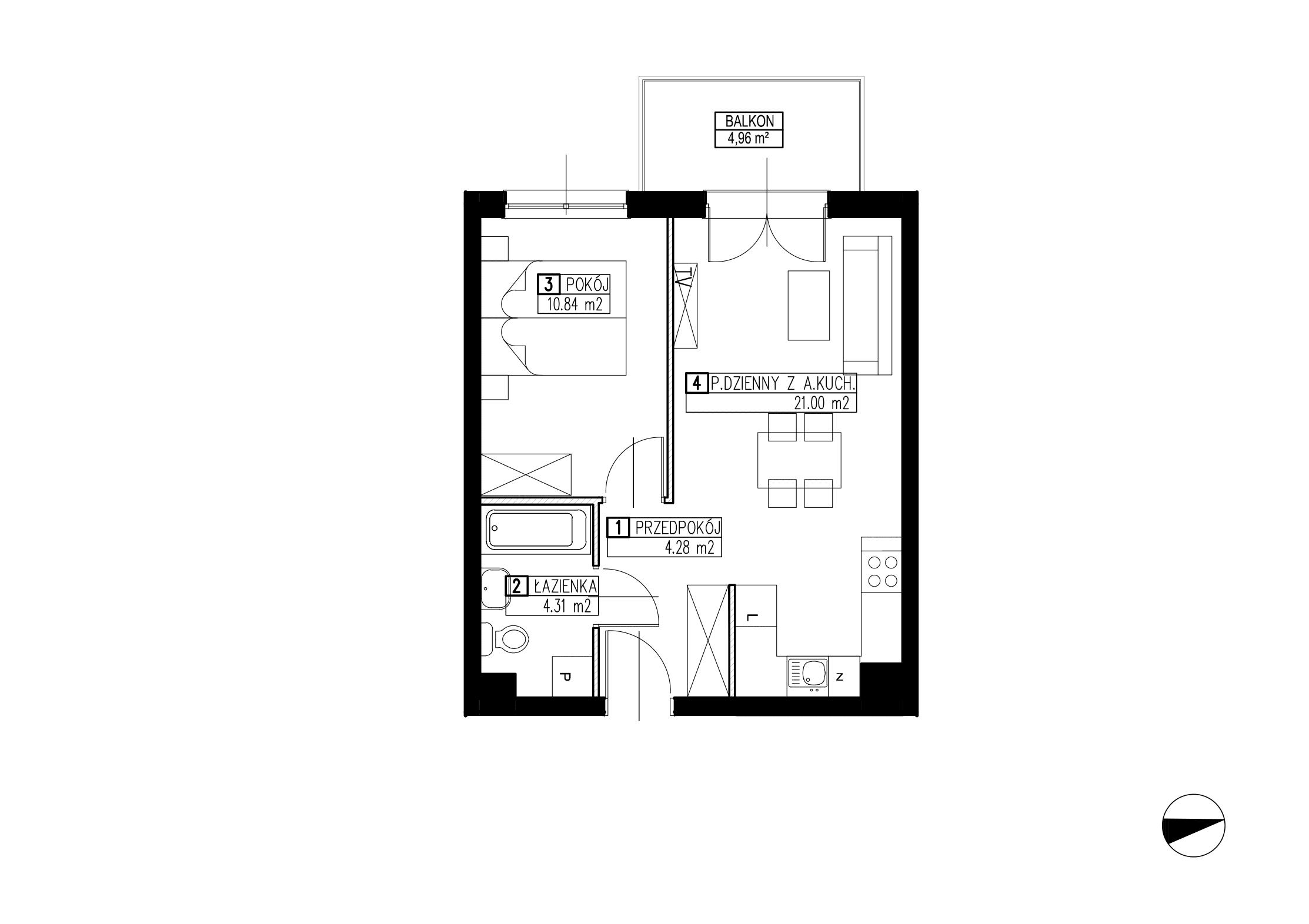 Wojszyckie Alejki / budynek 2 / mieszkanie WA2/B/1/8 rzut 1