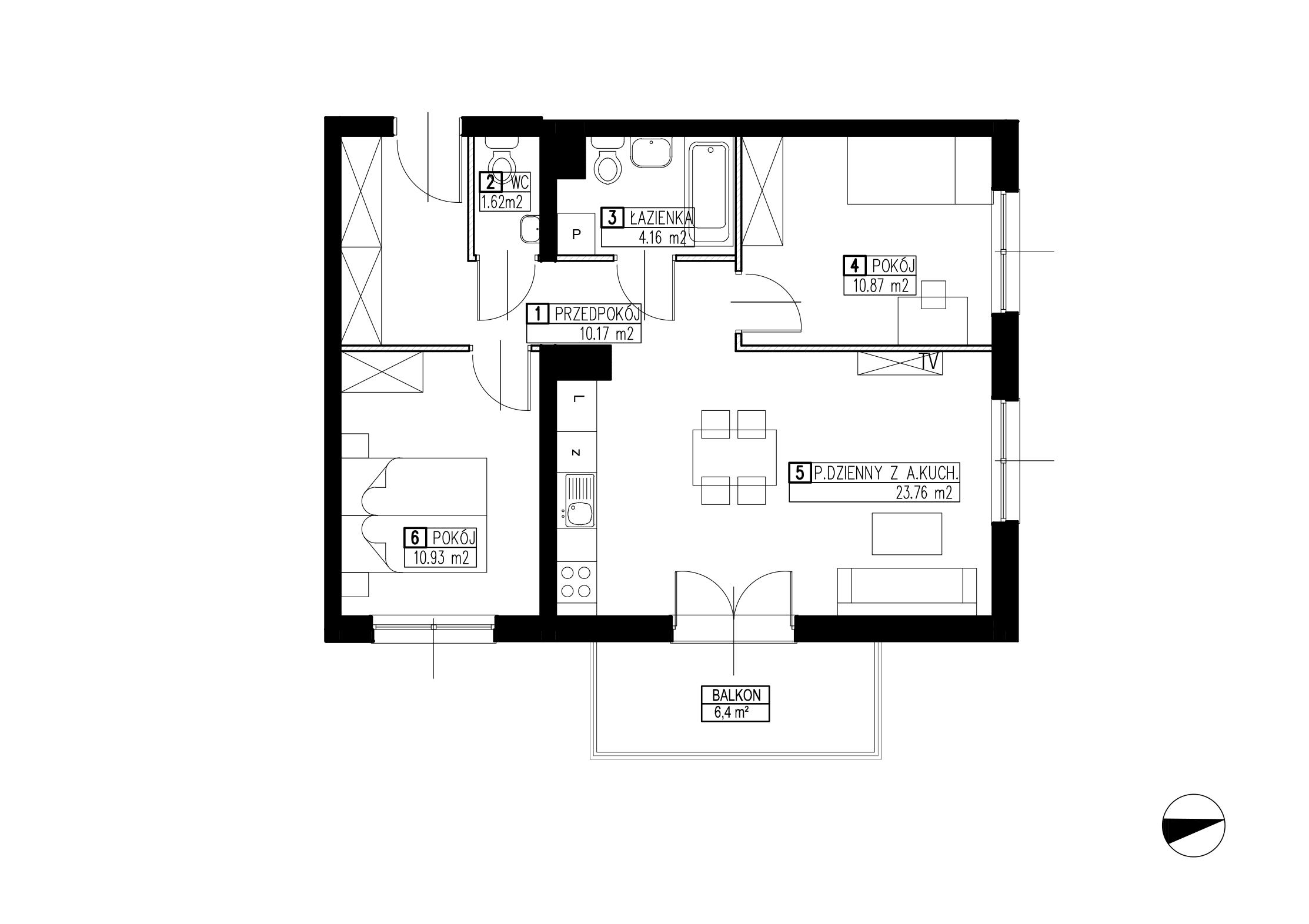 Wojszyckie Alejki / budynek 2 / mieszkanie WA2/B/1/11 rzut 1