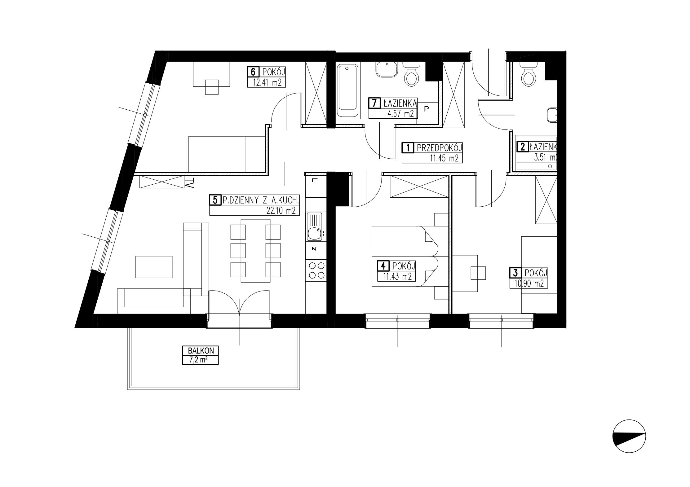 Wojszyckie Alejki / budynek 2 / mieszkanie WA2/B/2/3 rzut 1