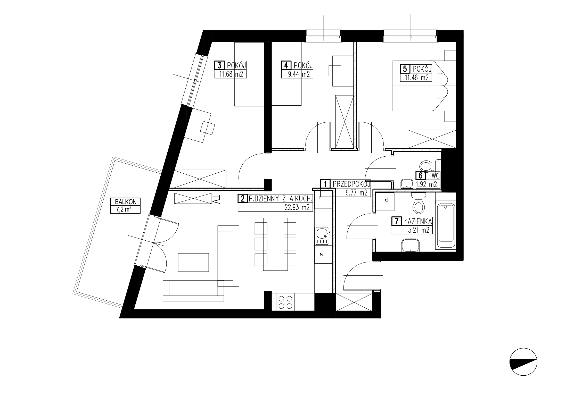 Wojszyckie Alejki / budynek 2 / mieszkanie WA2/B/2/4 rzut 1