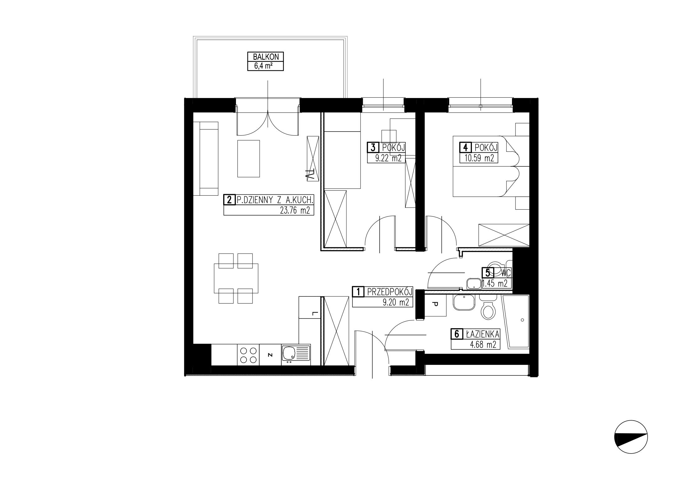 Wojszyckie Alejki / budynek 2 / mieszkanie WA2/B/2/9 rzut 1