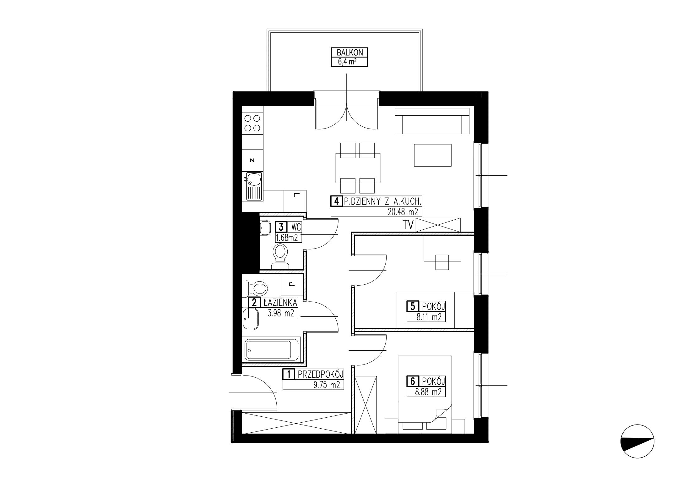 Wojszyckie Alejki / budynek 2 / mieszkanie WA2/B/2/10 rzut 1