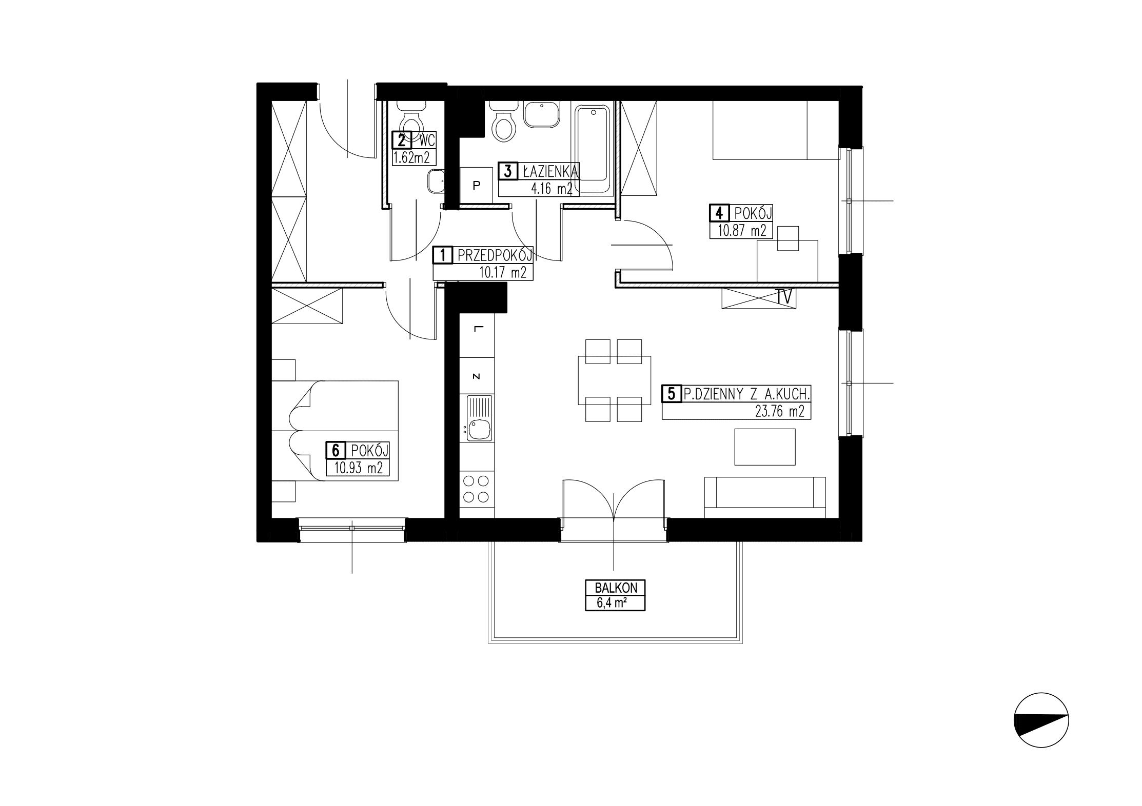 Wojszyckie Alejki / budynek 2 / mieszkanie WA2/B/2/11 rzut 1