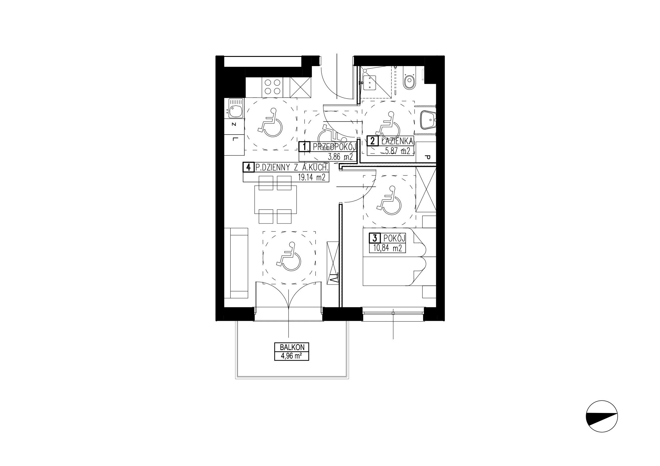 Wojszyckie Alejki / budynek 2 / mieszkanie WA2/B/2/13 rzut 1