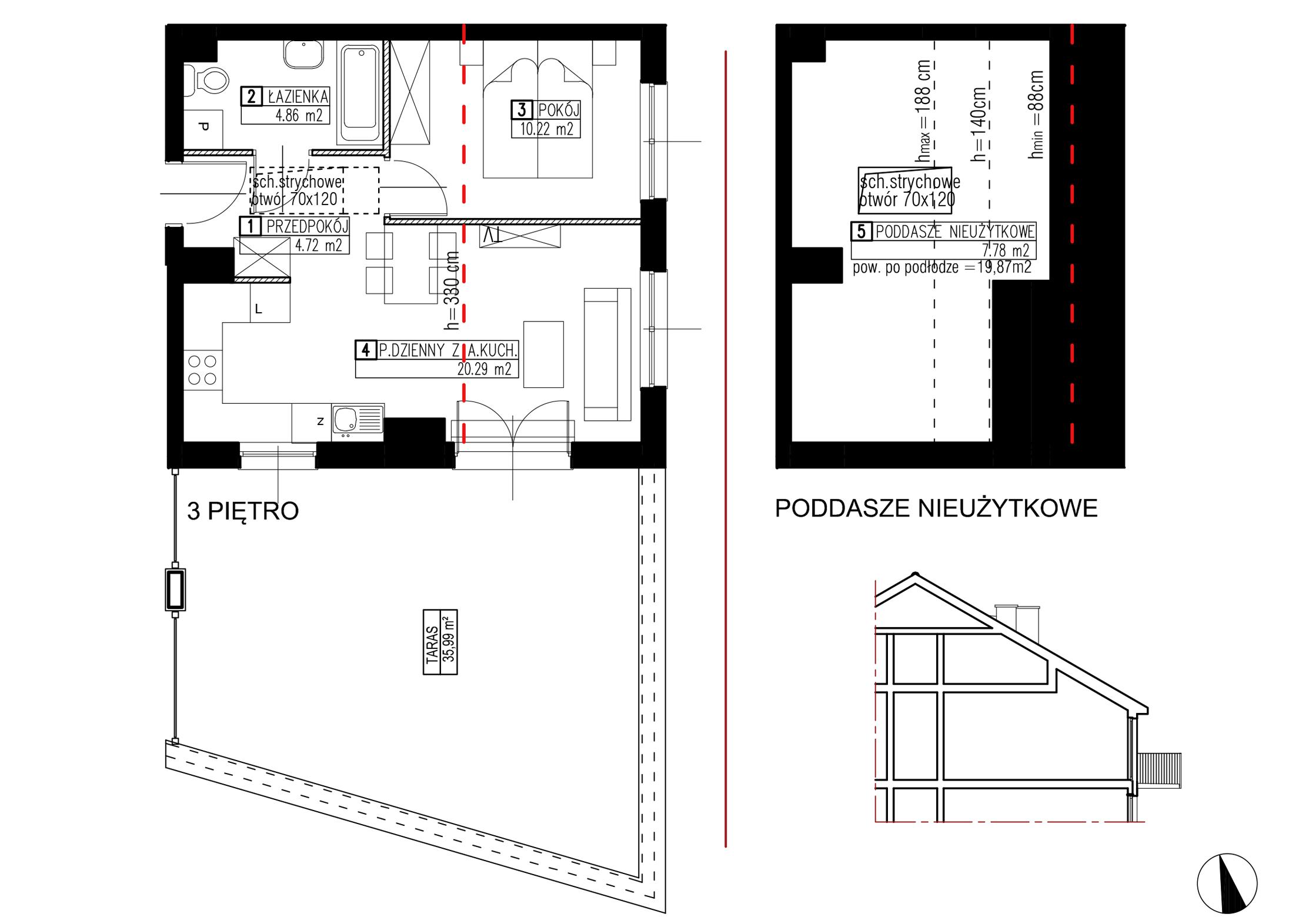 Wojszyckie Alejki / budynek 2 / mieszkanie WA2/B/3/3 rzut 1