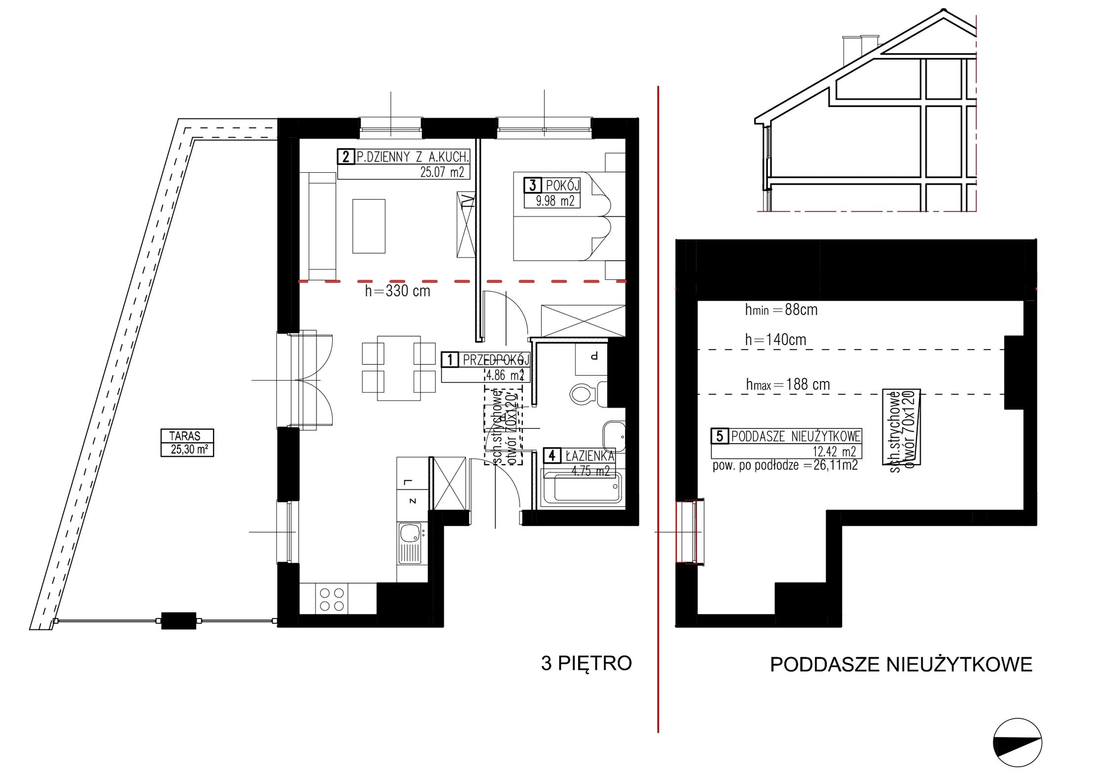 Wojszyckie Alejki / budynek 2 / mieszkanie WA2/B/3/4 rzut 1