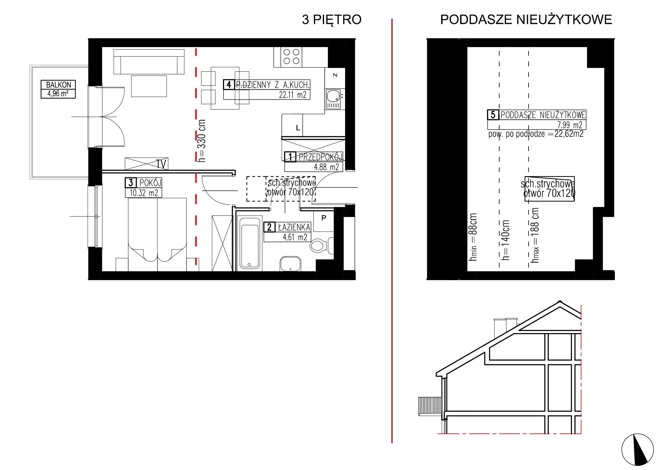 Wojszyckie Alejki / budynek 2 / mieszkanie WA2/B/3/5 rzut 1